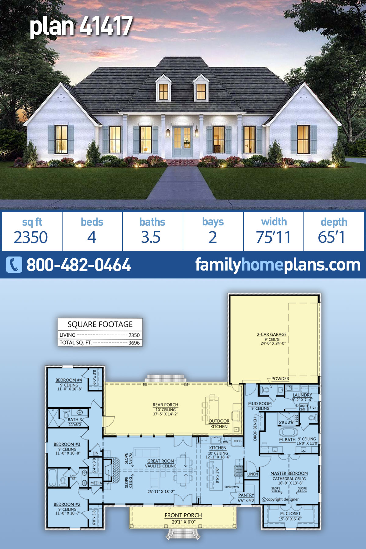 Colonial, Country, Southern House Plan 41417 with 4 Beds, 4 Baths, 2 Car Garage