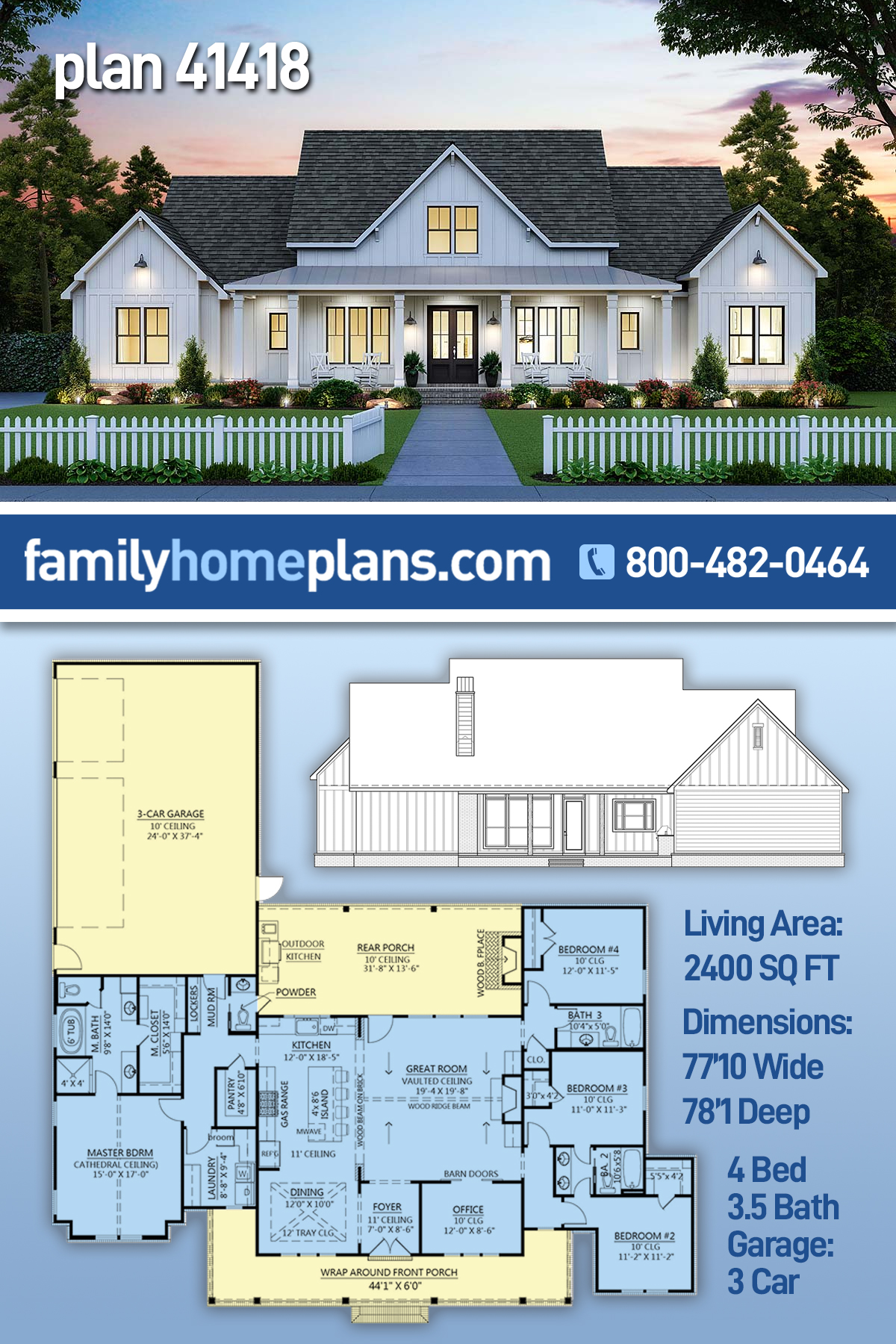 House Plan 20   Farmhouse Style with 20 Sq Ft