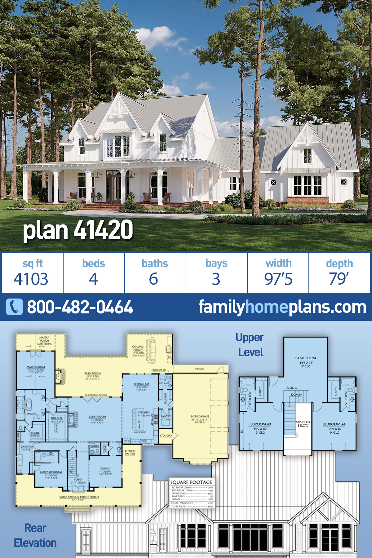 Country, Farmhouse House Plan 41420 with 4 Beds, 6 Baths, 3 Car Garage