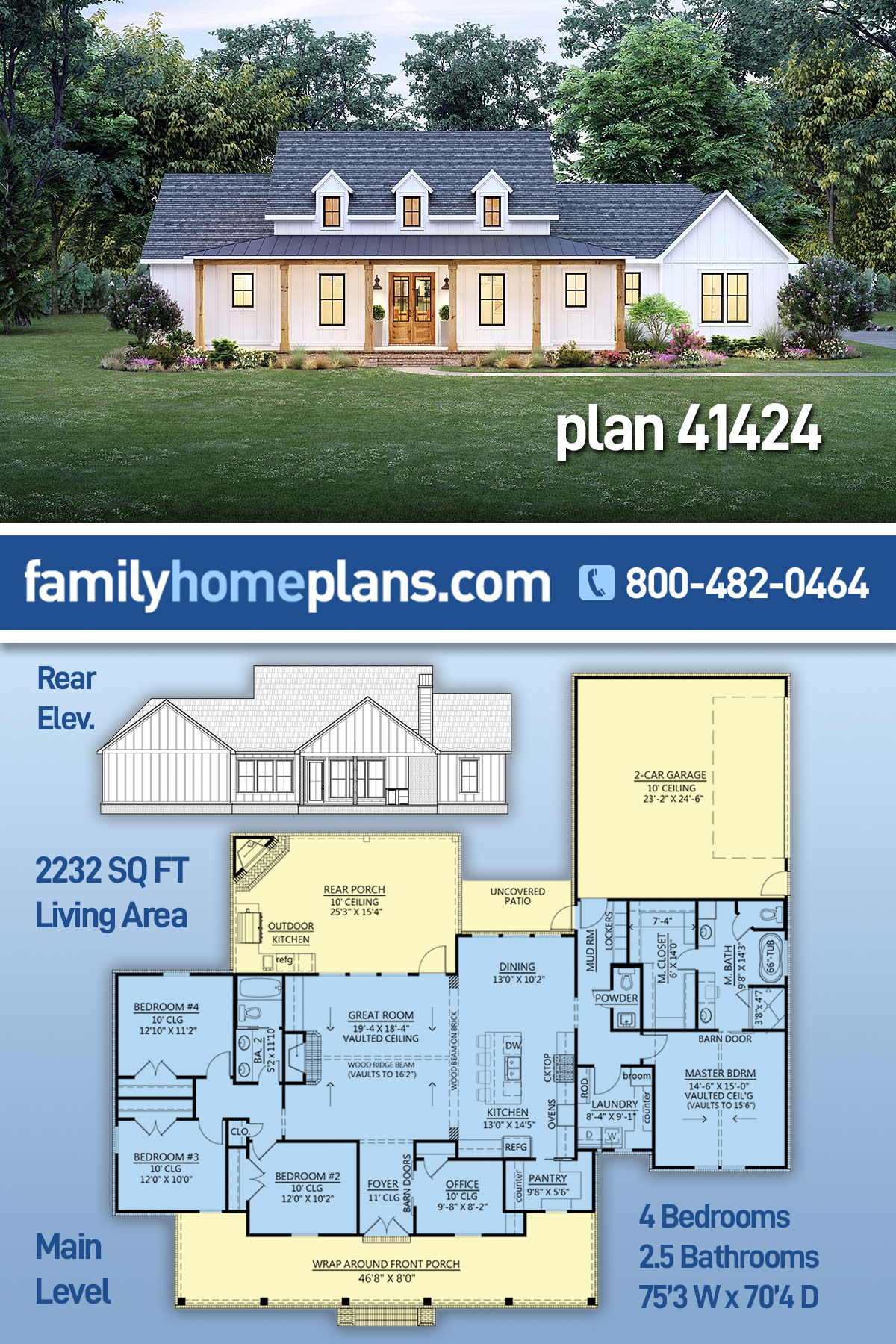 Country, Farmhouse, Southern House Plan 41424 with 4 Beds, 3 Baths, 2 Car Garage