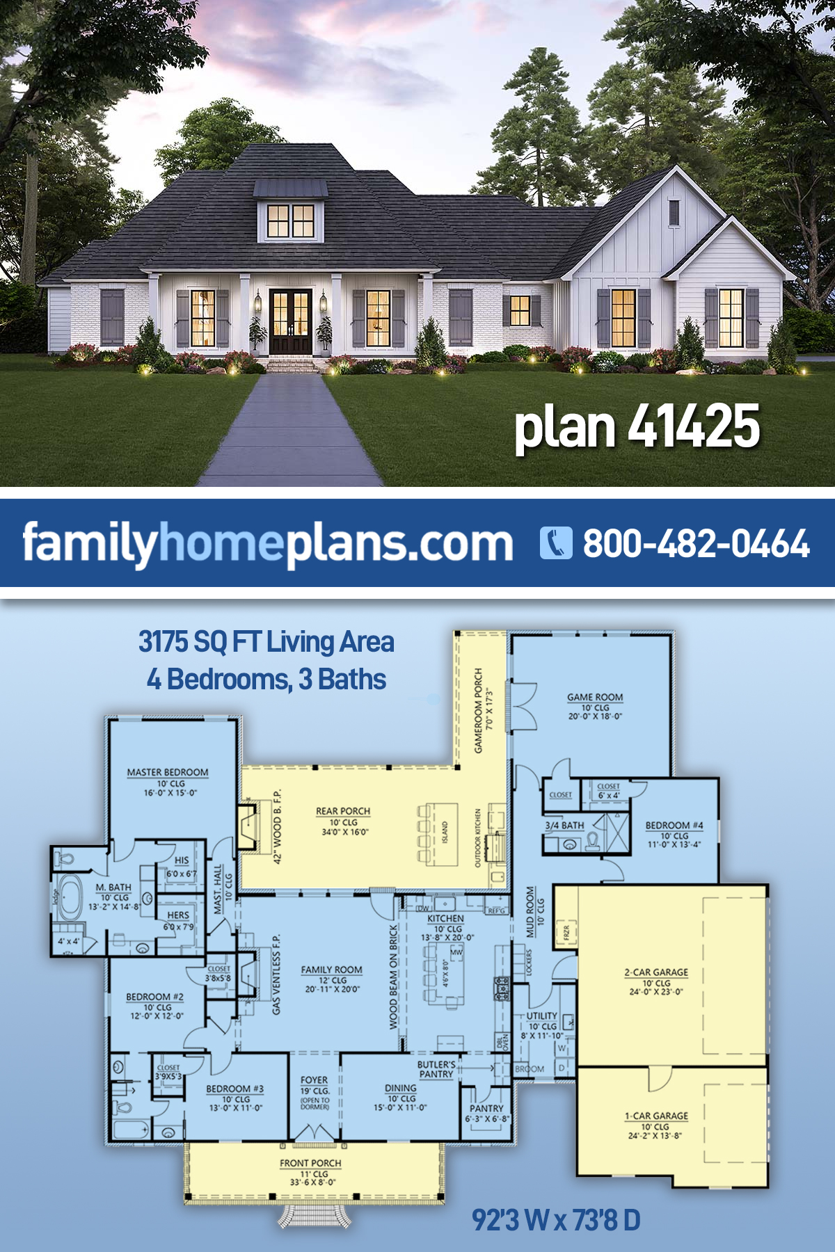 Farmhouse, French Country House Plan 41425 with 4 Beds, 3 Baths, 3 Car Garage