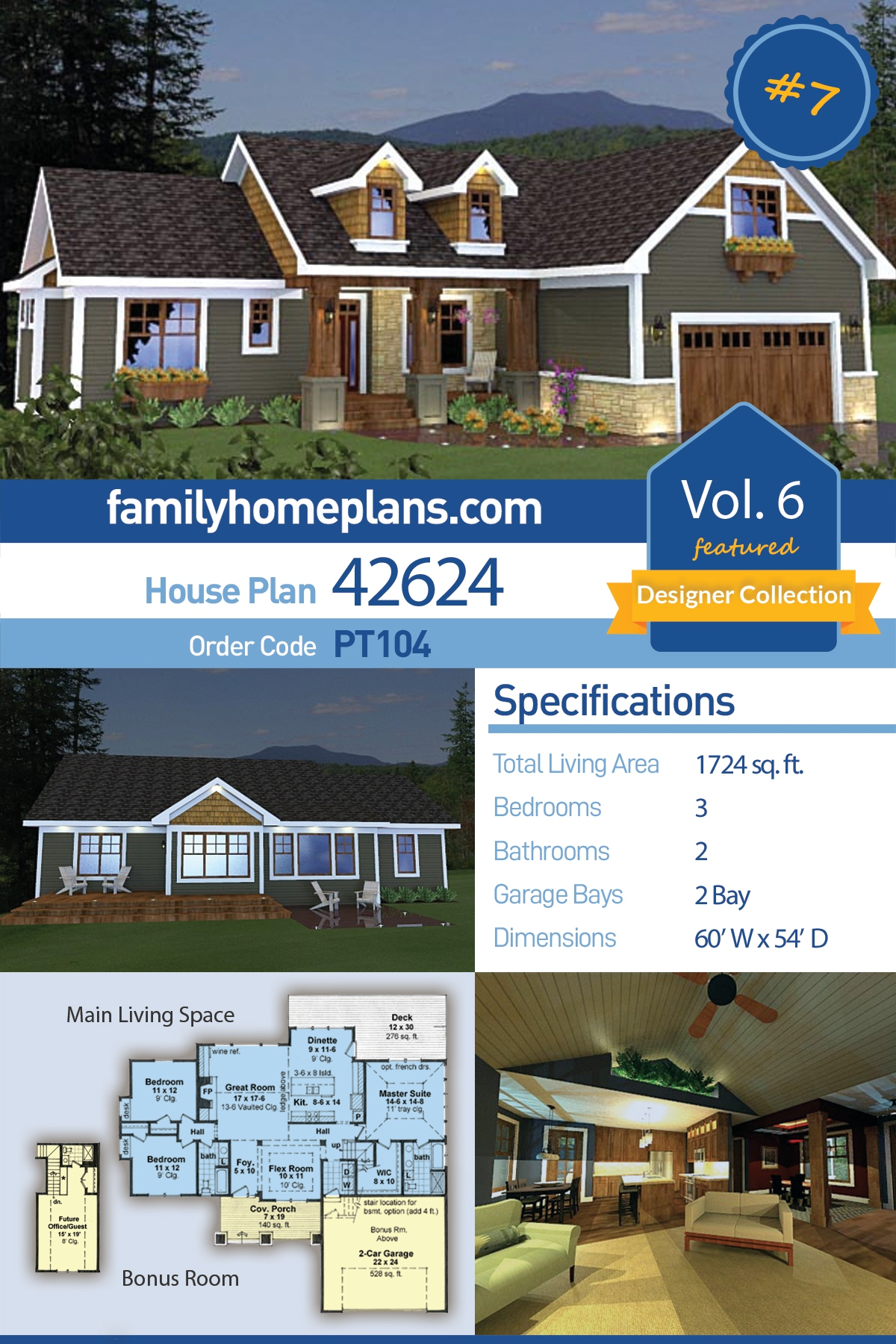 Craftsman House Plan 42624 with 3 Beds, 2 Baths, 2 Car Garage