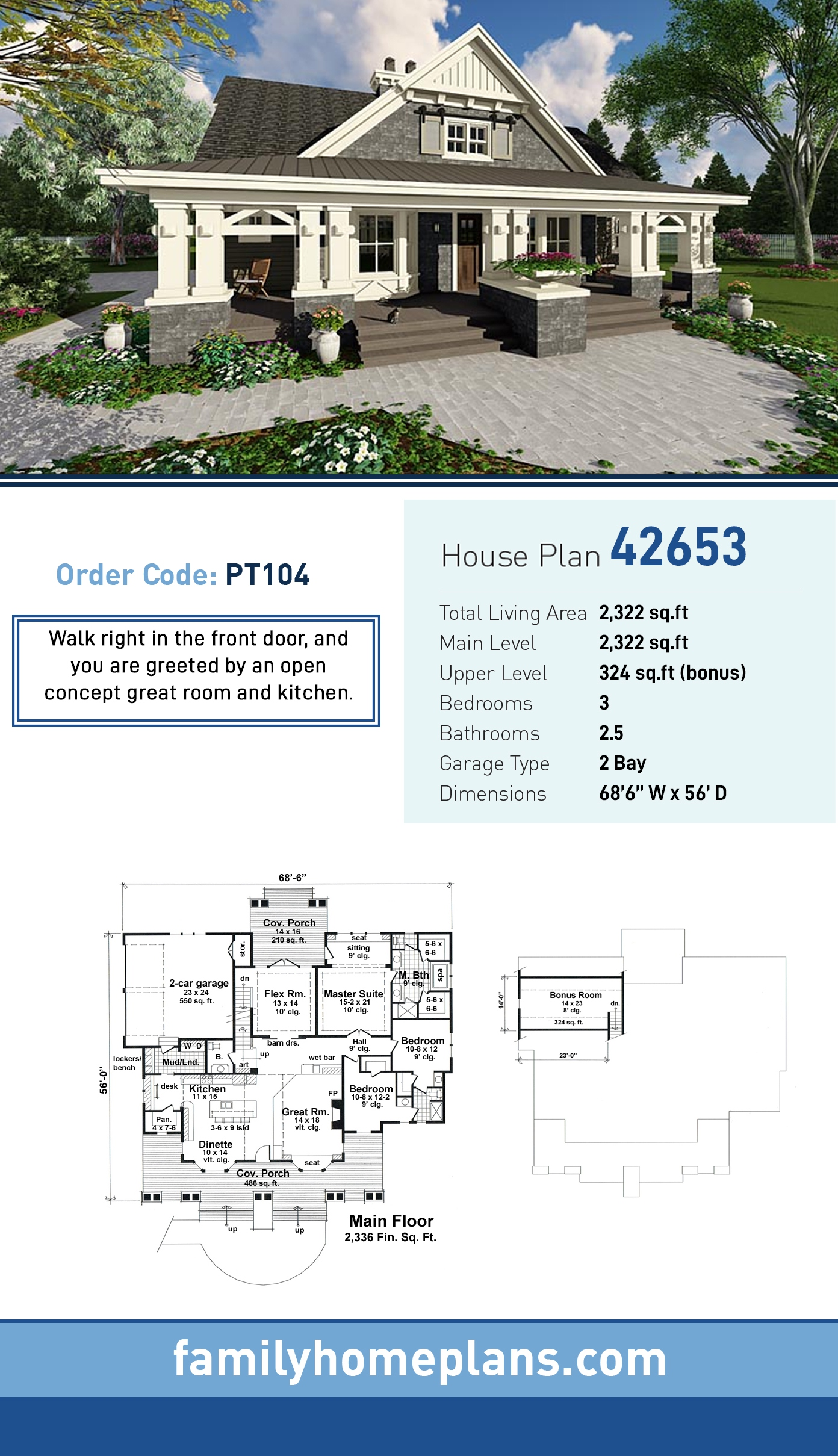 Craftsman House Plan 42653 with 3 Beds, 3 Baths, 2 Car Garage