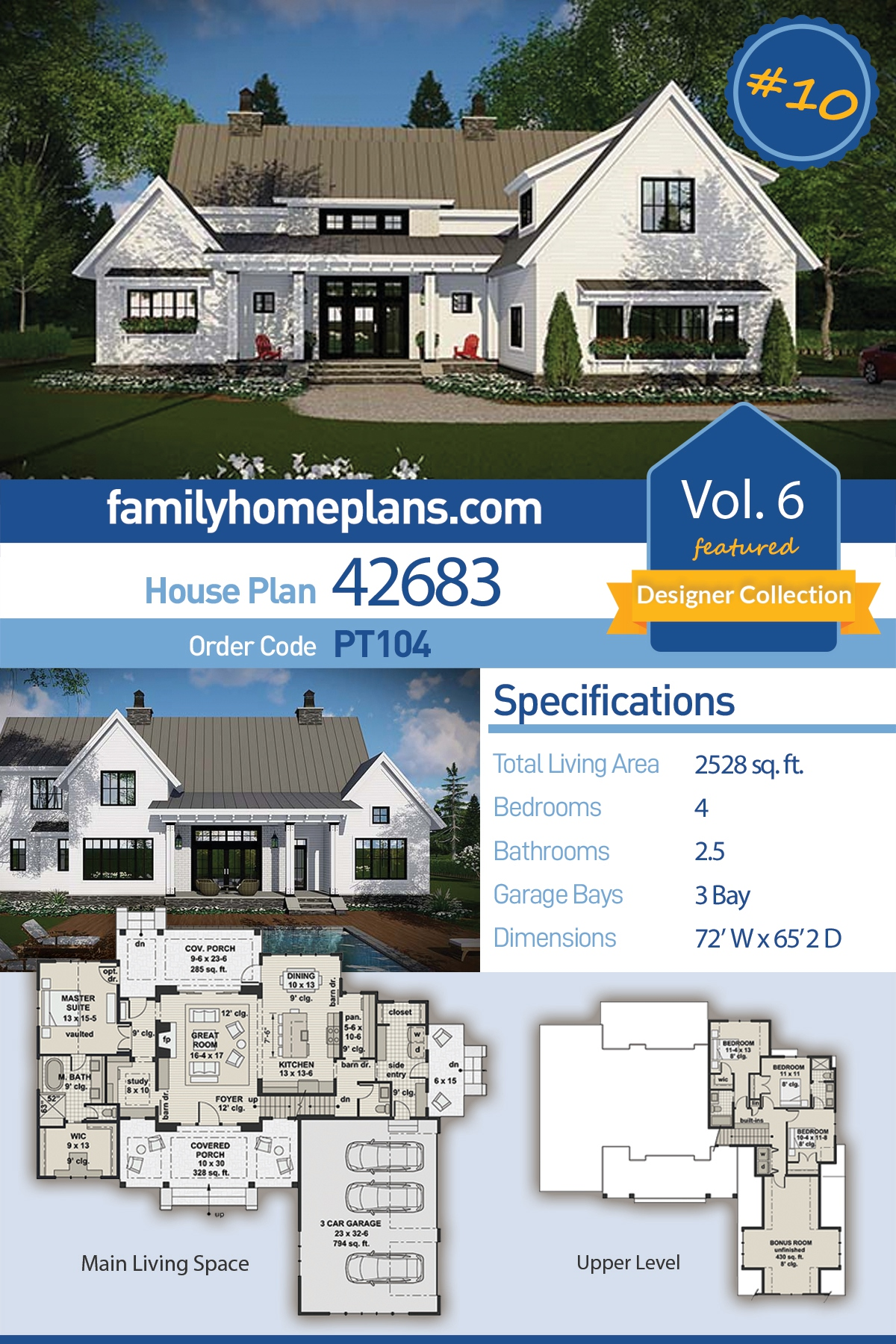 Country, Farmhouse, Traditional House Plan 42683 with 4 Beds, 3 Baths, 3 Car Garage