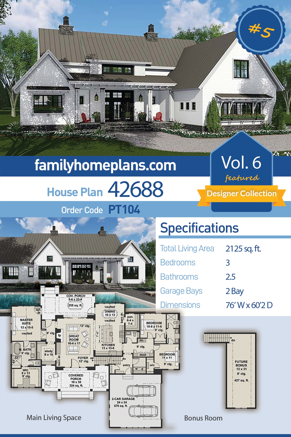 Country , Farmhouse , Southern , Traditional House Plan 42688 with 3 Beds, 3 Baths, 2 Car Garage