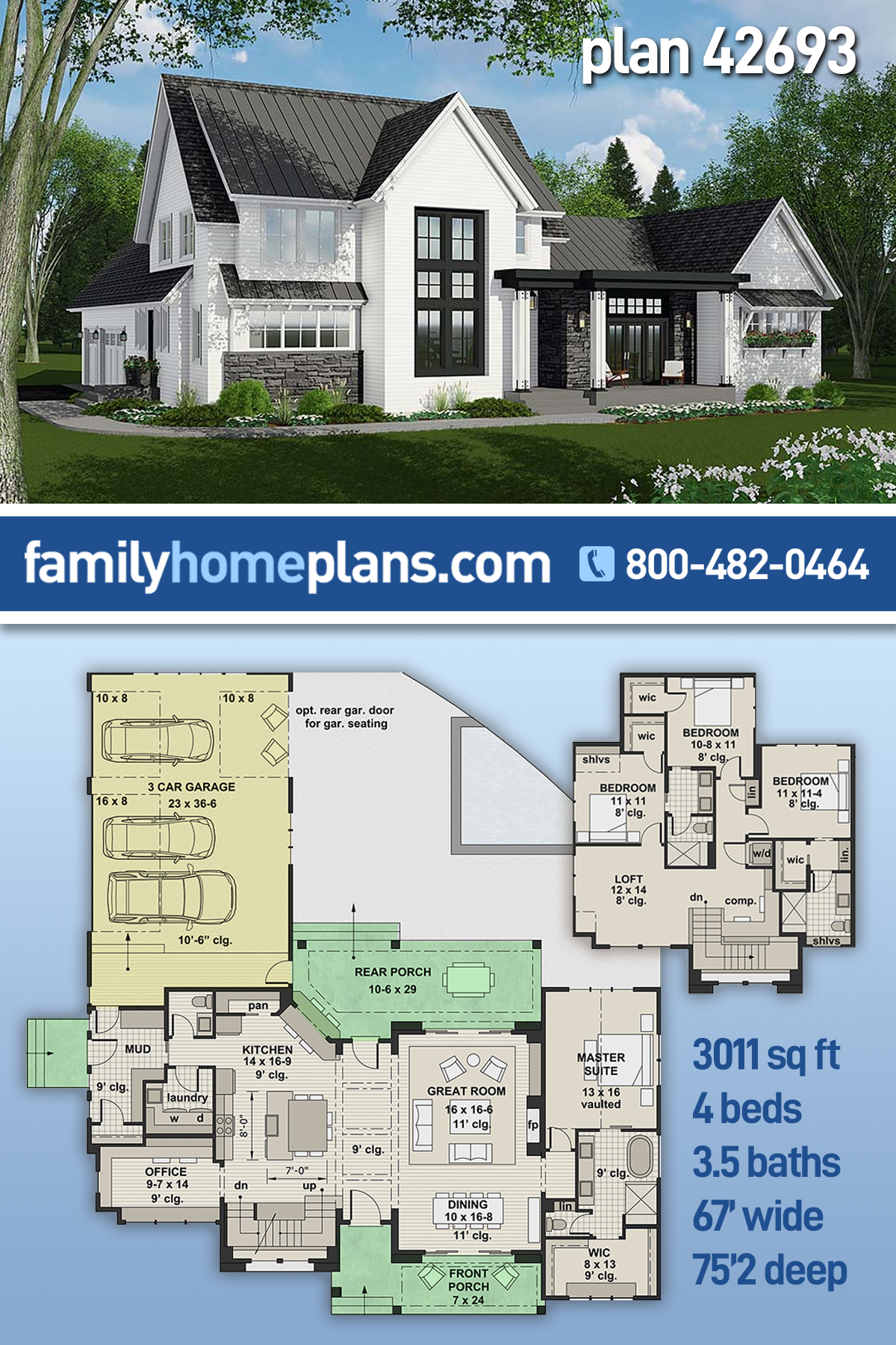 Country, Farmhouse House Plan 42693 with 4 Beds, 4 Baths, 3 Car Garage