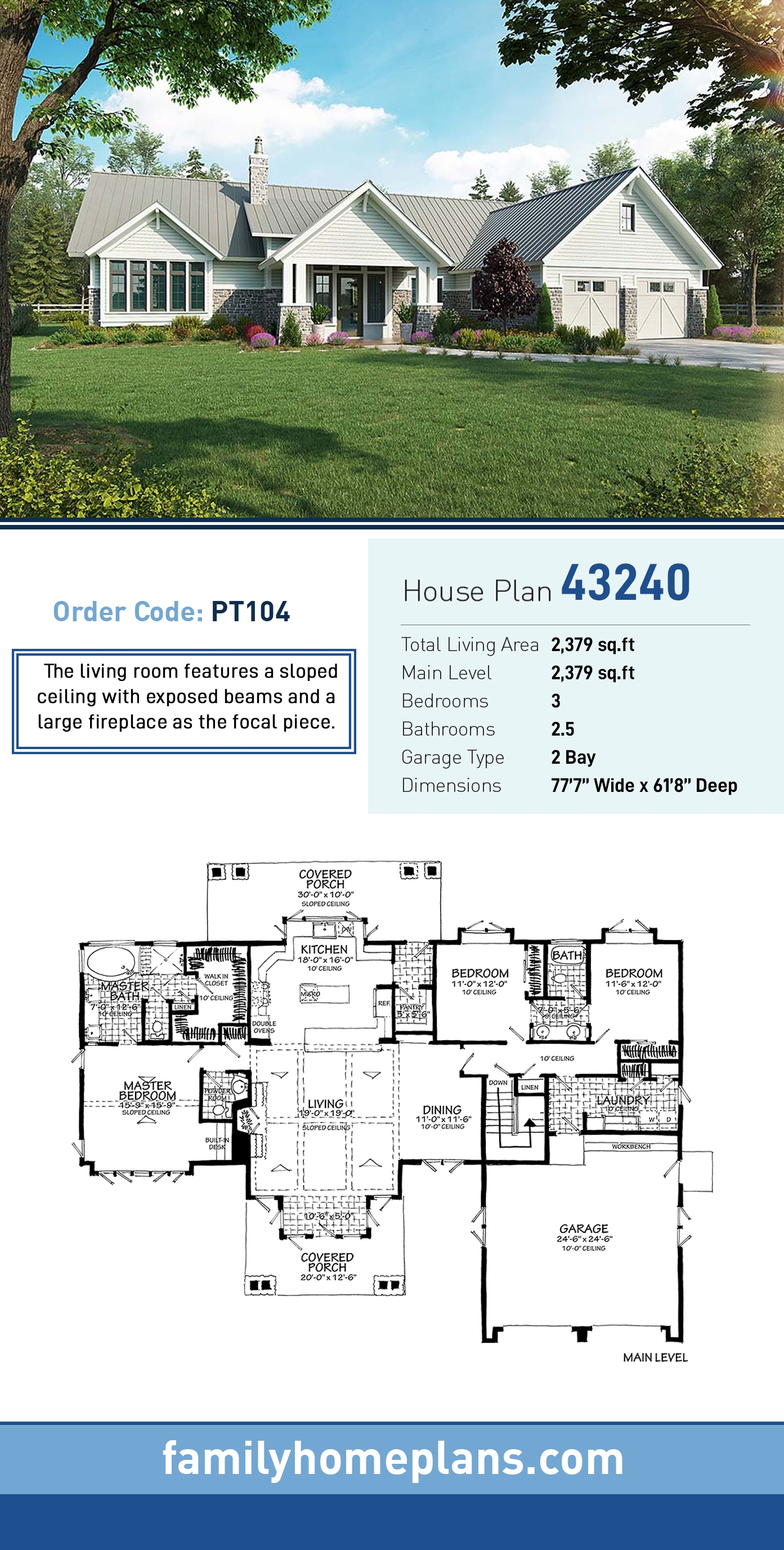 Country, Farmhouse House Plan 43240 with 3 Beds, 3 Baths, 2 Car Garage