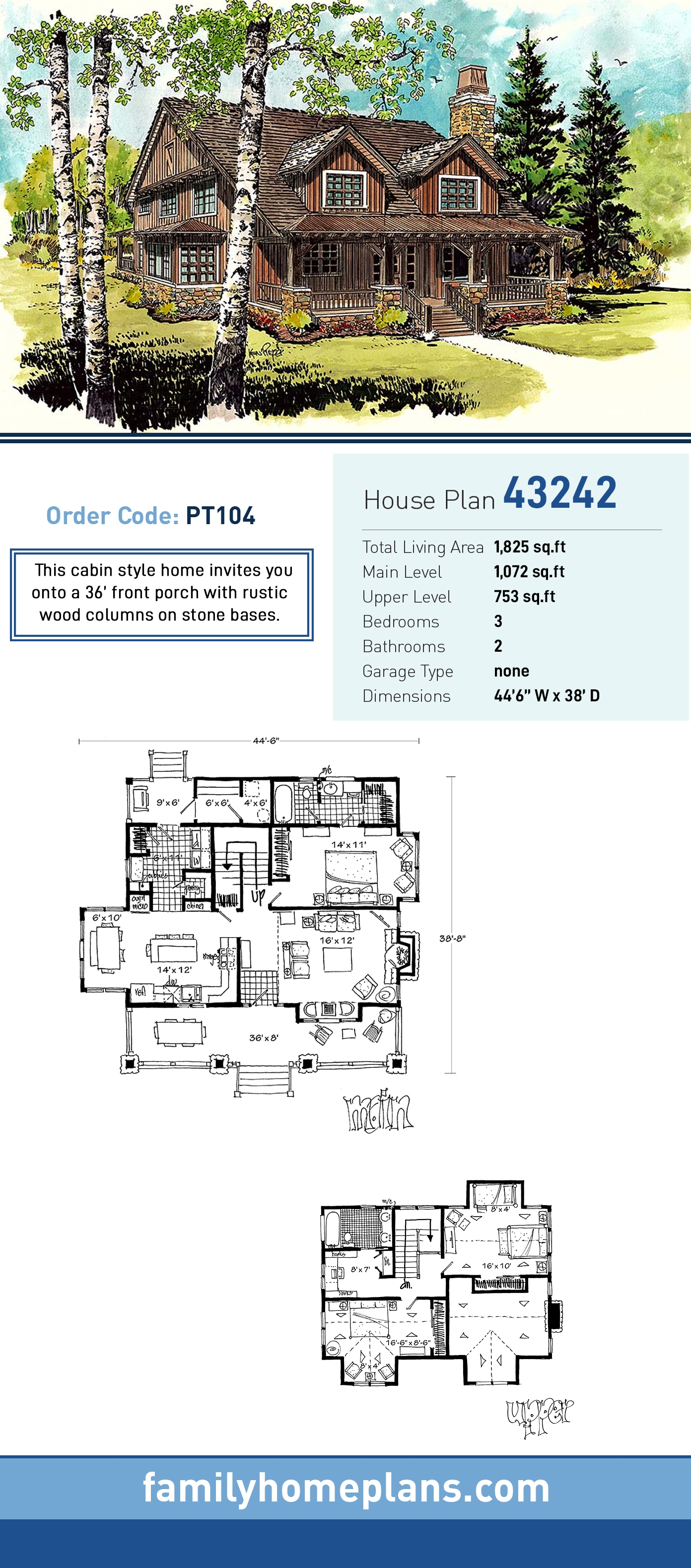Cabin, Cottage, Country House Plan 43242 with 3 Beds, 2 Baths