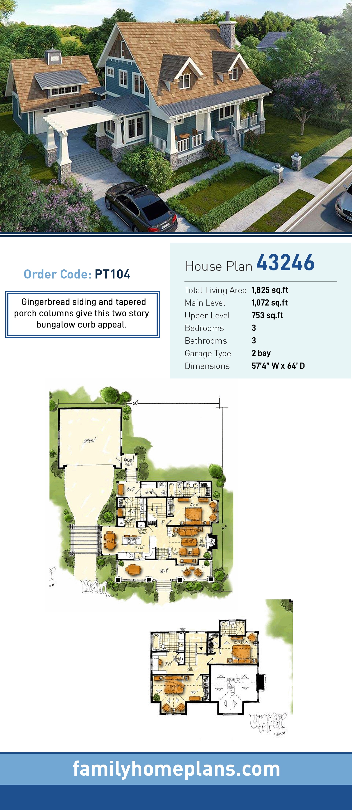 Bungalow , Cottage , Craftsman House Plan 43246 with 3 Beds, 3 Baths, 2 Car Garage