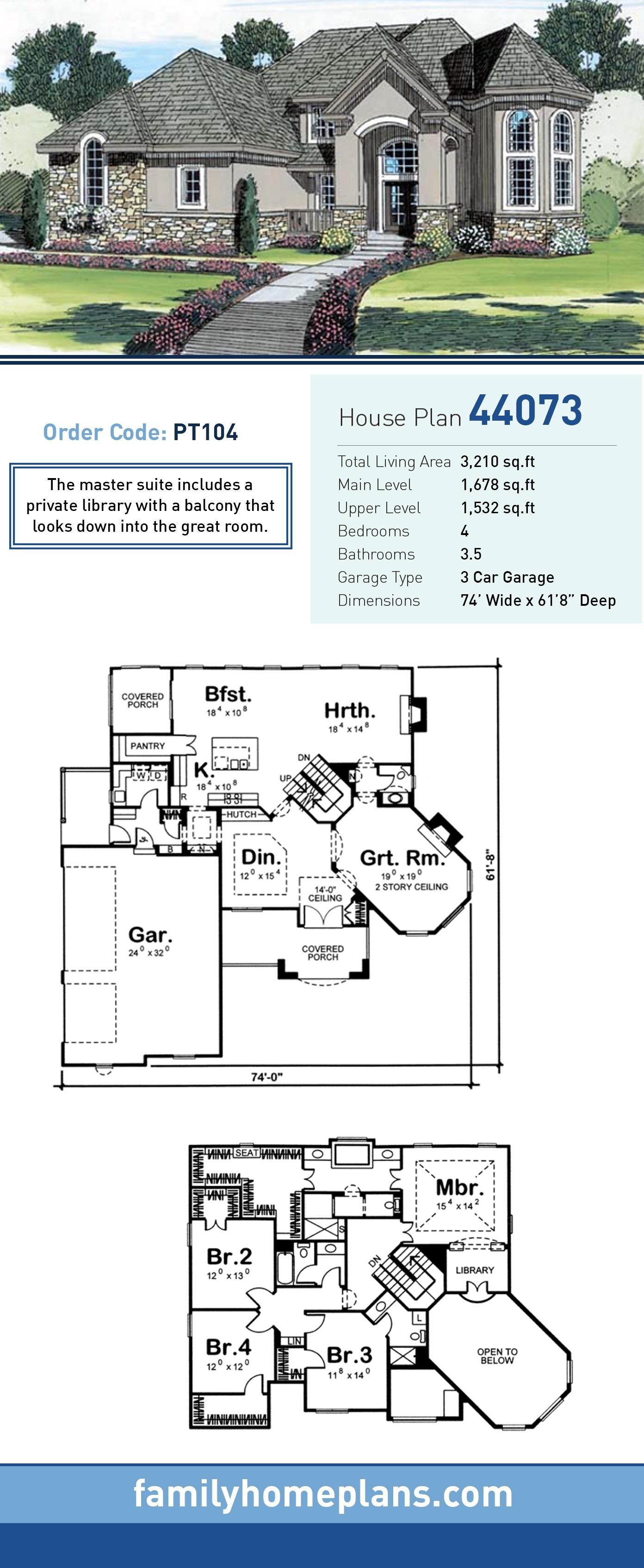 European House Plan 44073 with 4 Beds, 4 Baths, 3 Car Garage