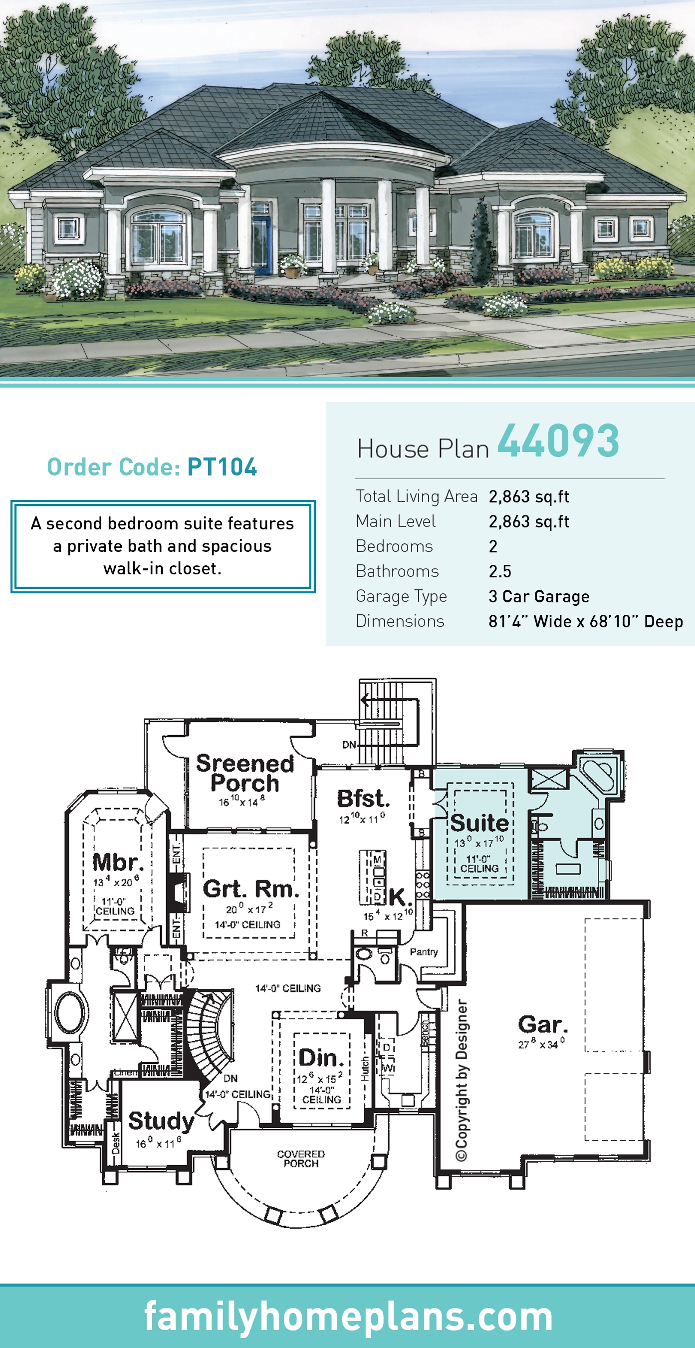 Florida, Mediterranean House Plan 44093 with 2 Beds , 3 Baths , 3 Car Garage