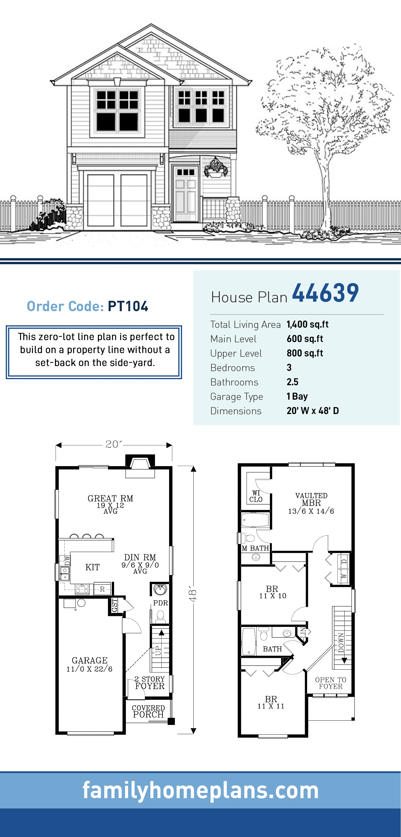 Craftsman, Traditional House Plan 44639 with 3 Beds, 3 Baths, 1 Car Garage