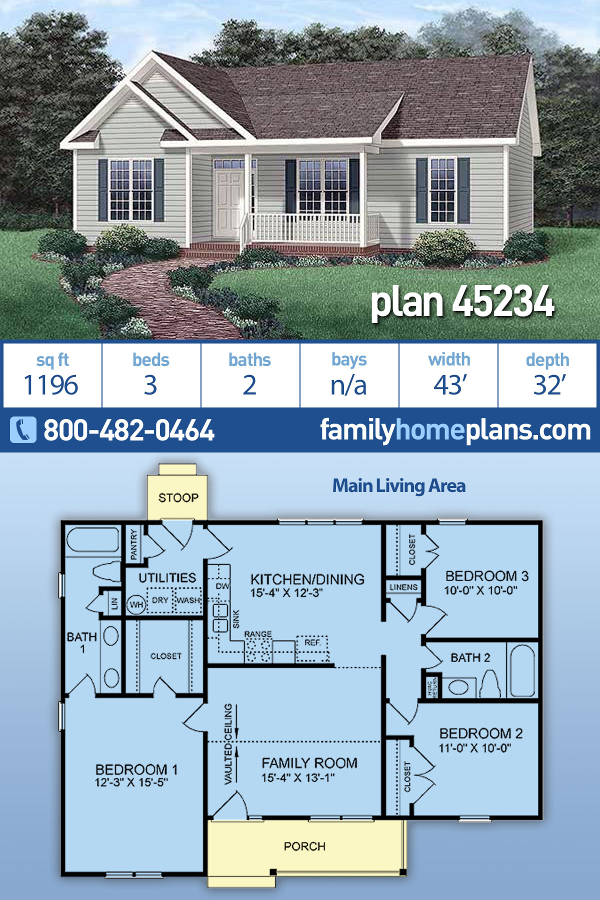 Country, Ranch House Plan 45234 with 3 Beds, 2 Baths