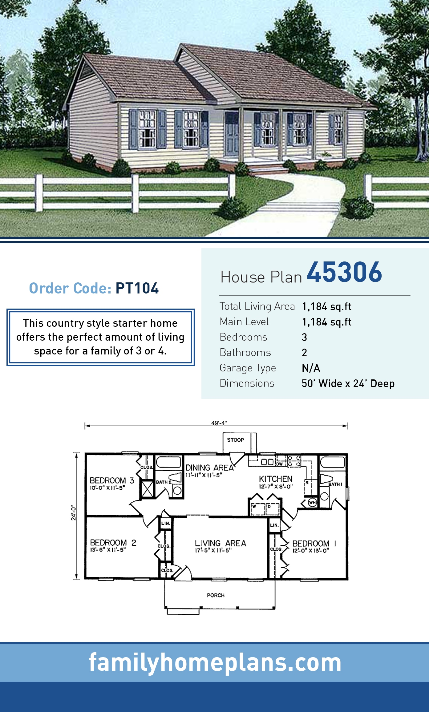 Ranch House Plan 45306 with 3 Beds, 2 Baths