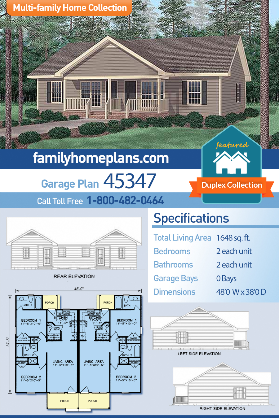 Traditional Multi-Family Plan 45347 with 4 Beds, 4 Baths