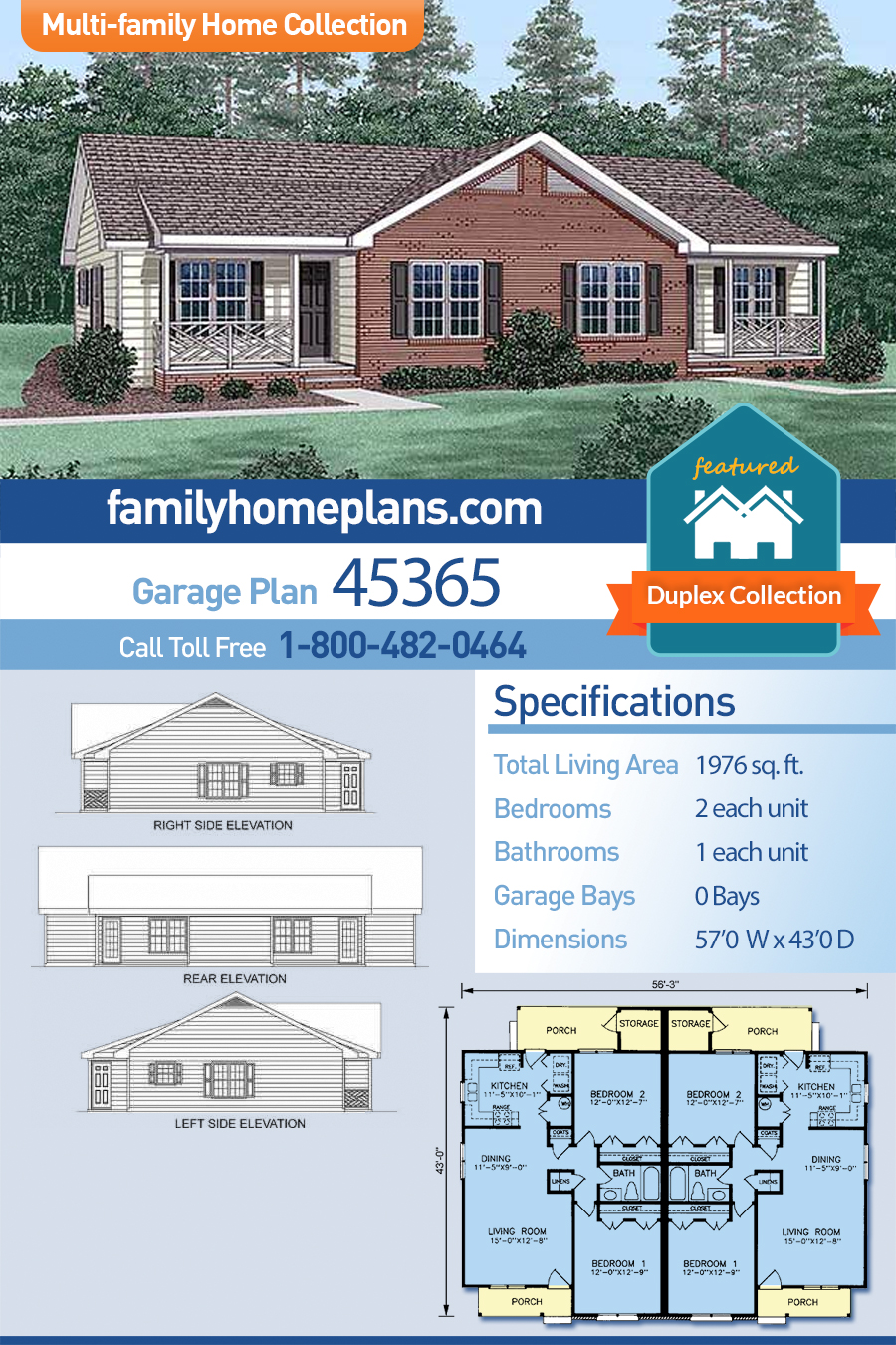 Multi-Family Plan 45365 with 4 Beds, 2 Baths