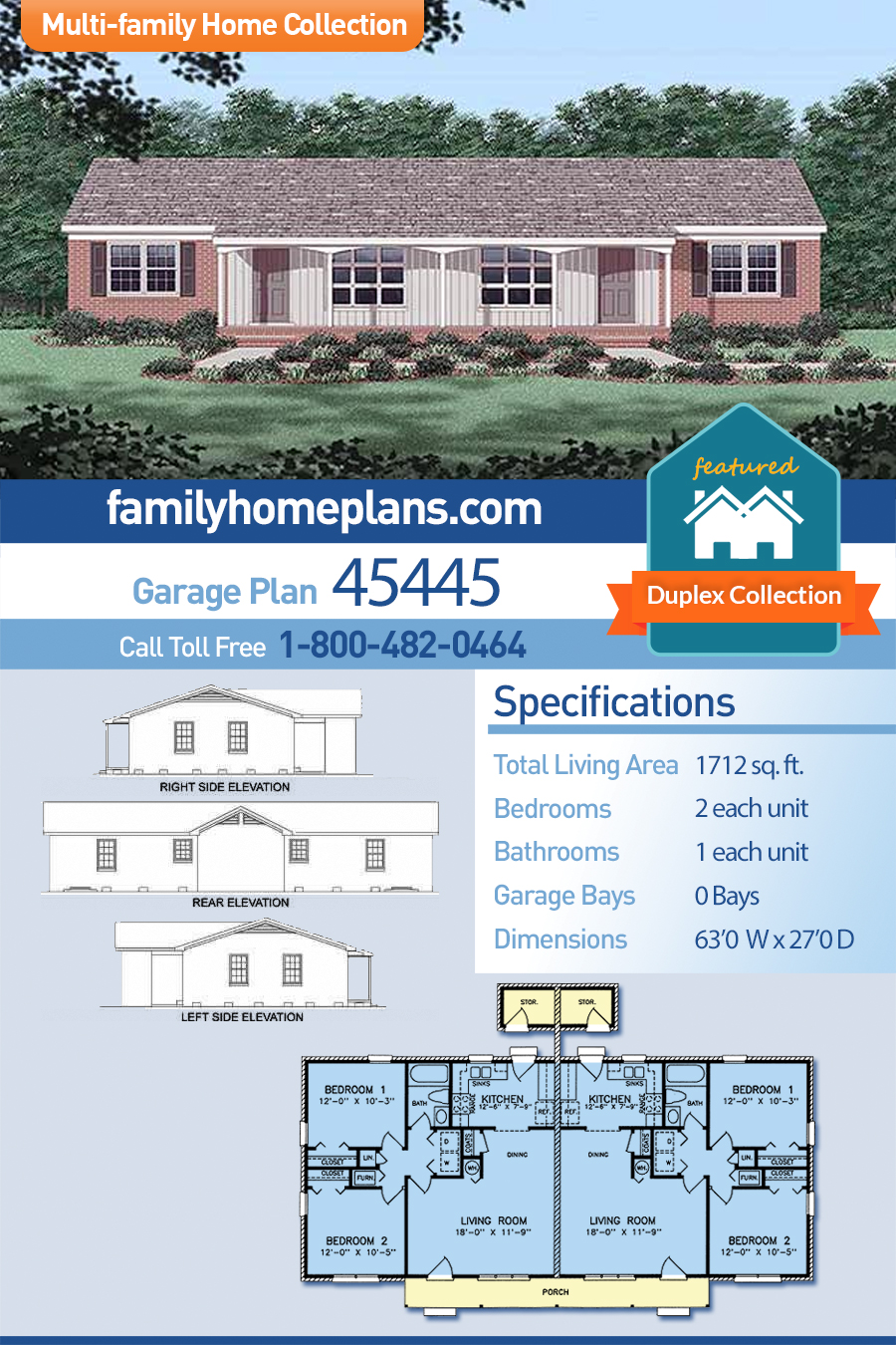 Multi-Family Plan 45445 with 4 Beds, 2 Baths