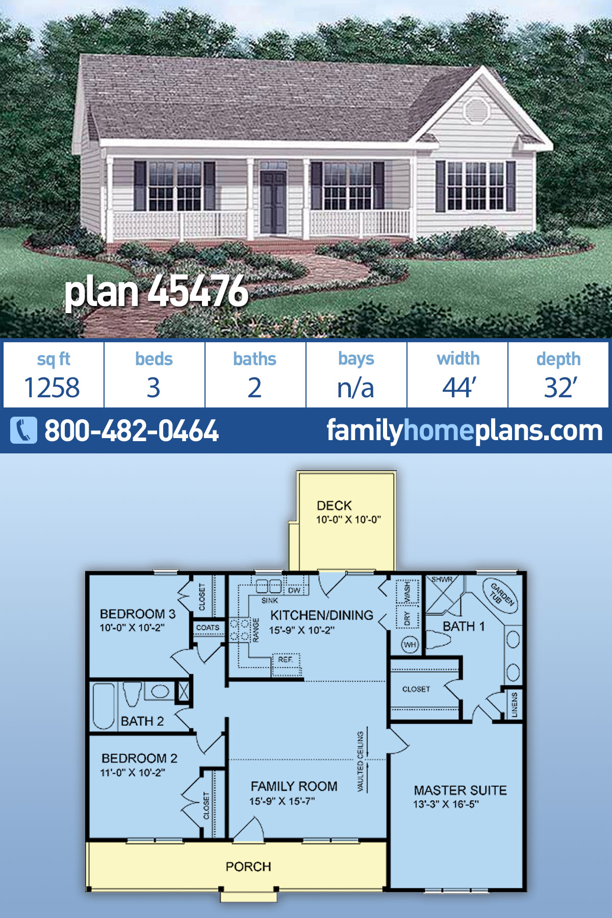 Country, Ranch, Traditional House Plan 45476 with 3 Beds, 2 Baths