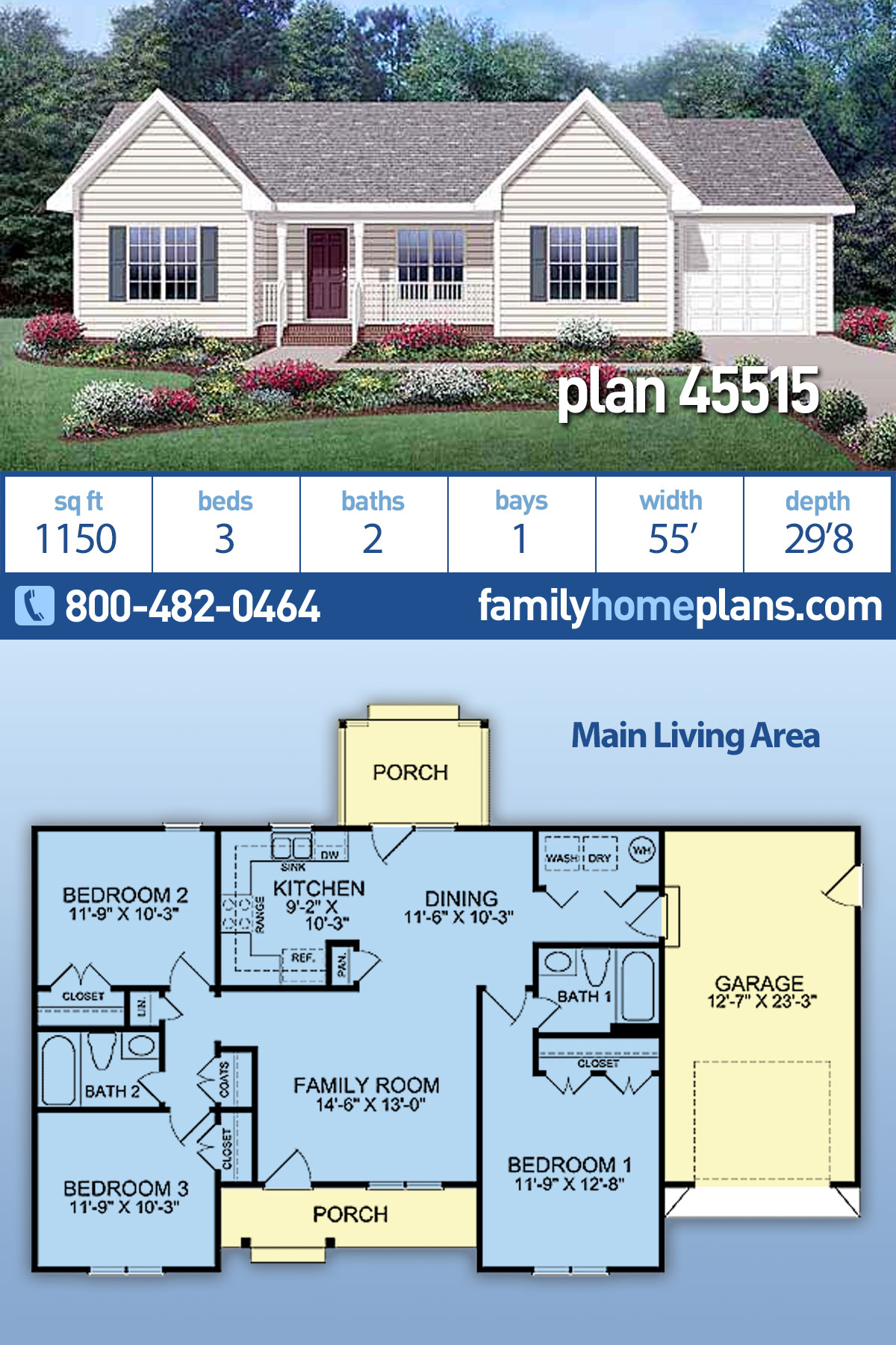 Country , Ranch House Plan 45515 with 3 Beds, 2 Baths, 1 Car Garage