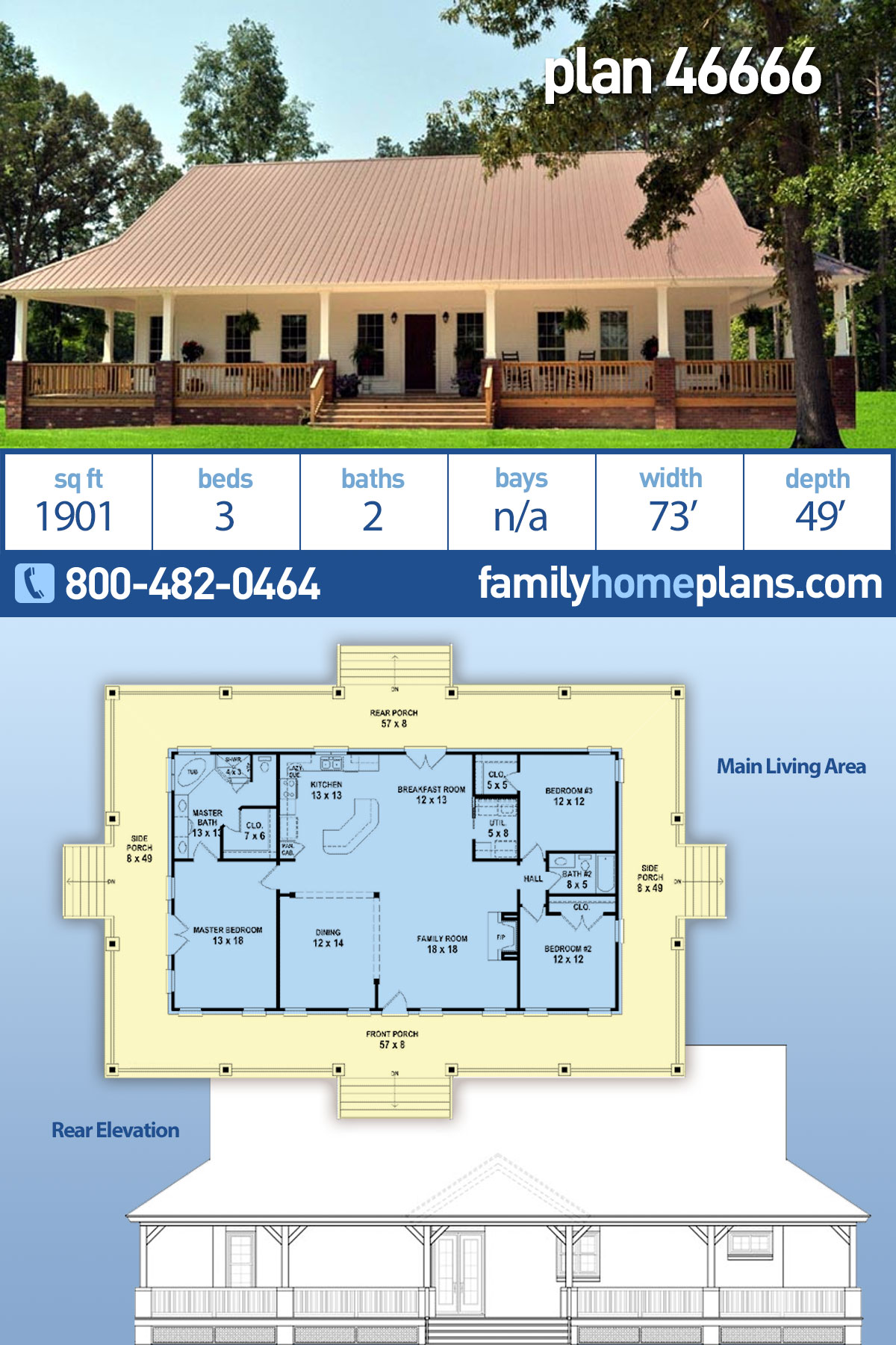 Country, Modern Farmhouse, Ranch, Traditional House Plan 46666 with 3 Beds, 2 Baths