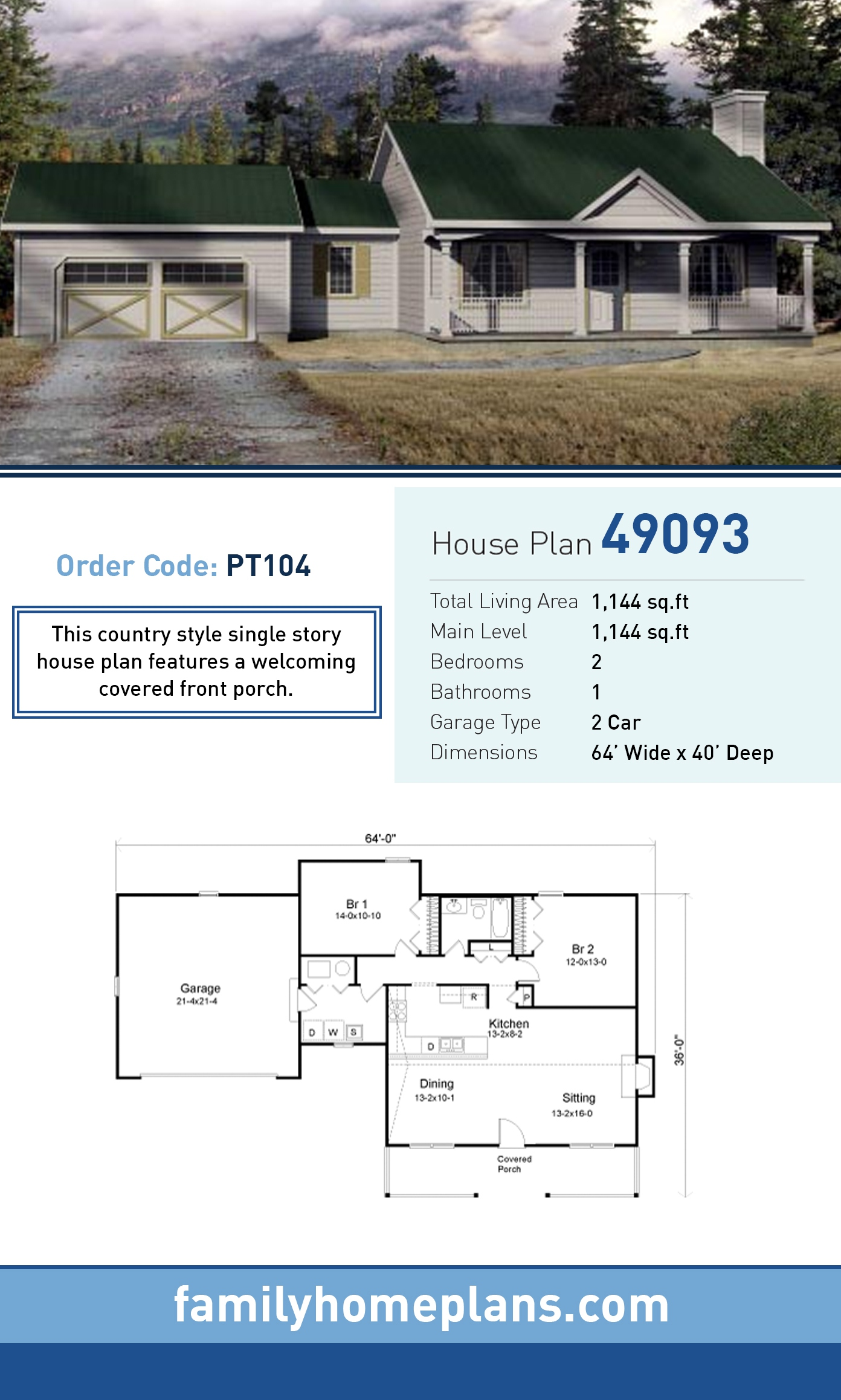 House Plan 49093 with 2 Beds, 1 Baths, 2 Car Garage