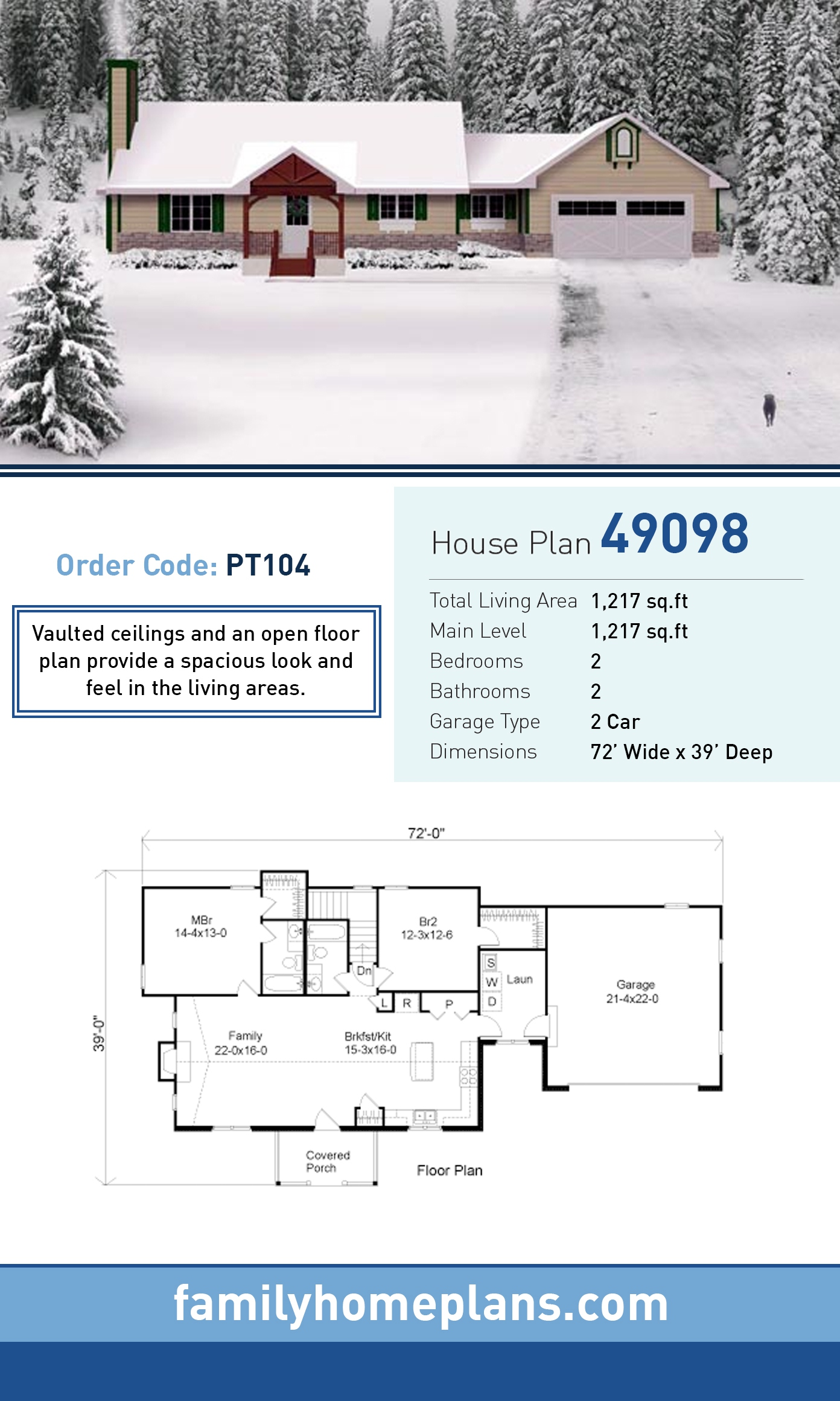 House Plan 49098 with 2 Beds, 2 Baths, 2 Car Garage
