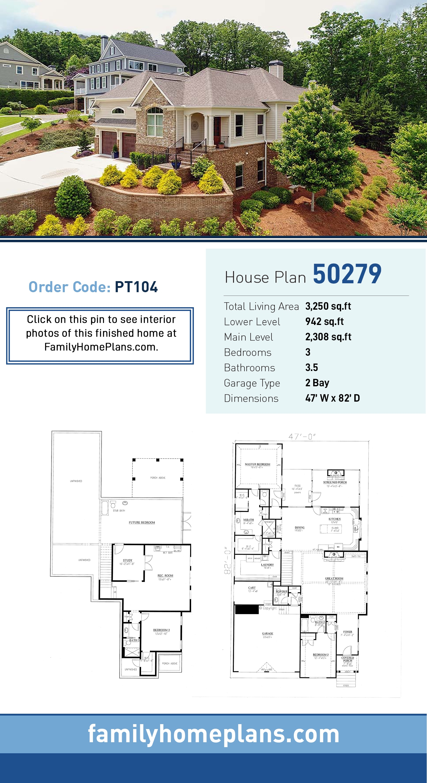 Traditional House Plan 50279 with 3 Beds, 4 Baths, 2 Car Garage