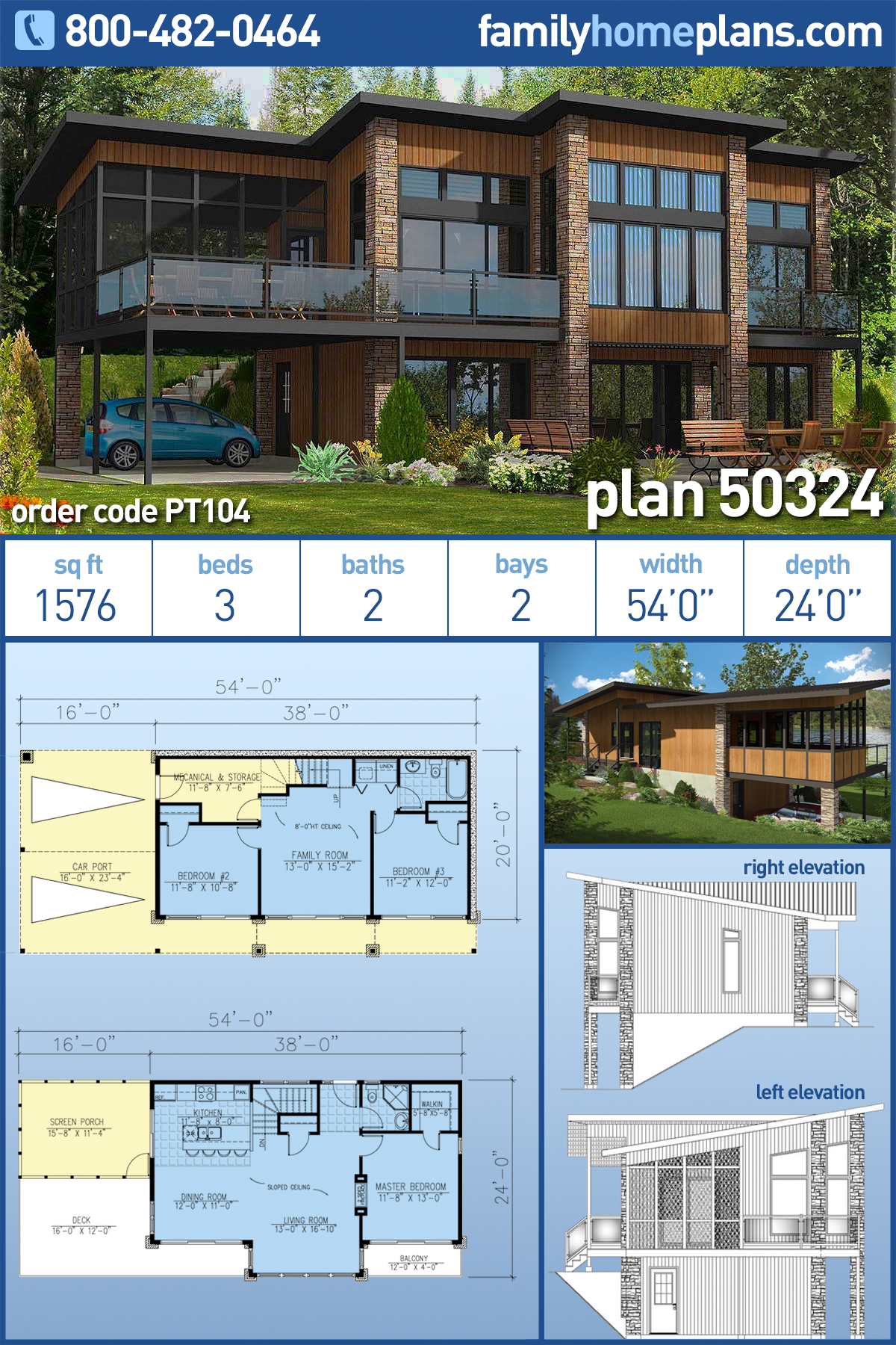 Contemporary, Modern House Plan 50324 with 3 Beds , 2 Baths , 2 Car Garage