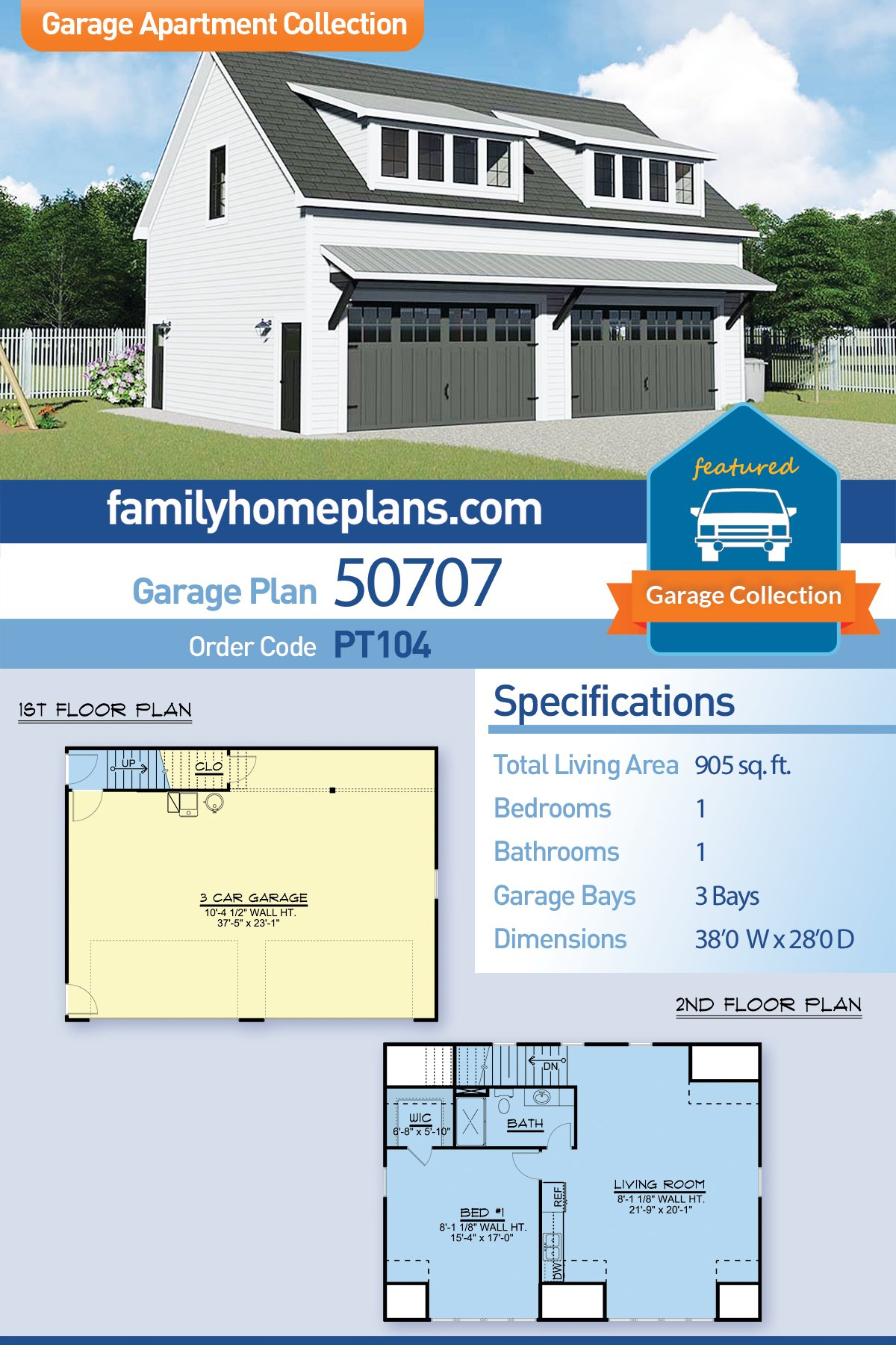 Colonial, Contemporary 3 Car Garage Apartment Plan 50707 with 1 Beds, 1 Baths
