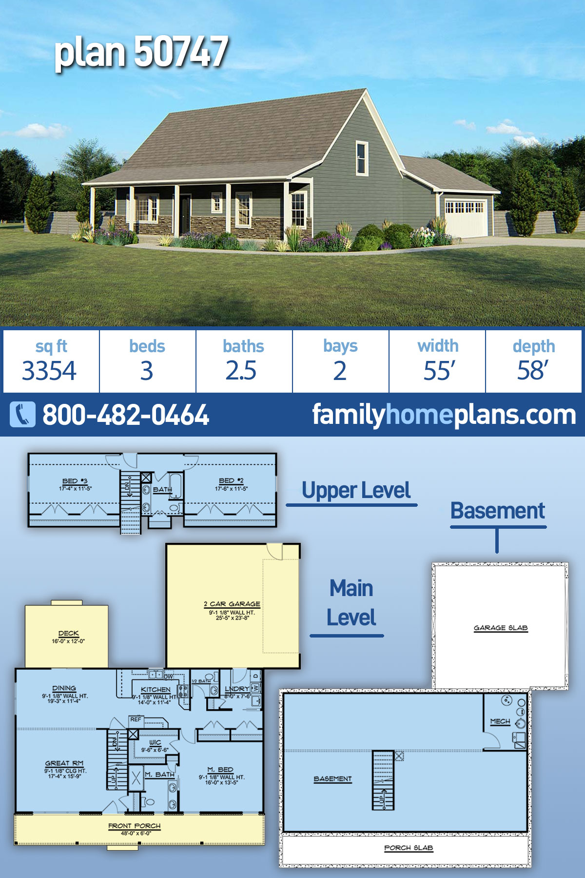 Country, Traditional House Plan 50747 with 3 Beds, 3 Baths, 2 Car Garage