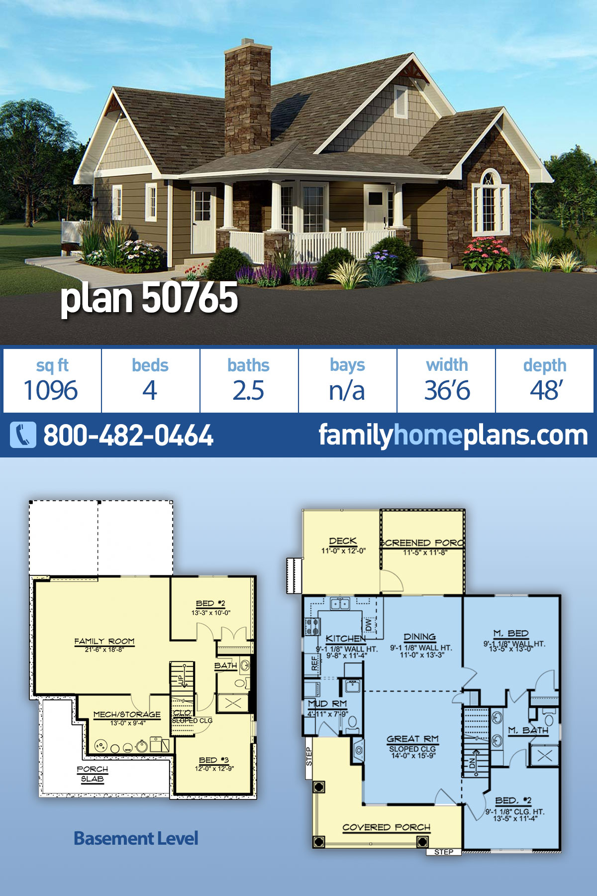Country, Craftsman House Plan 50765 with 4 Beds, 3 Baths
