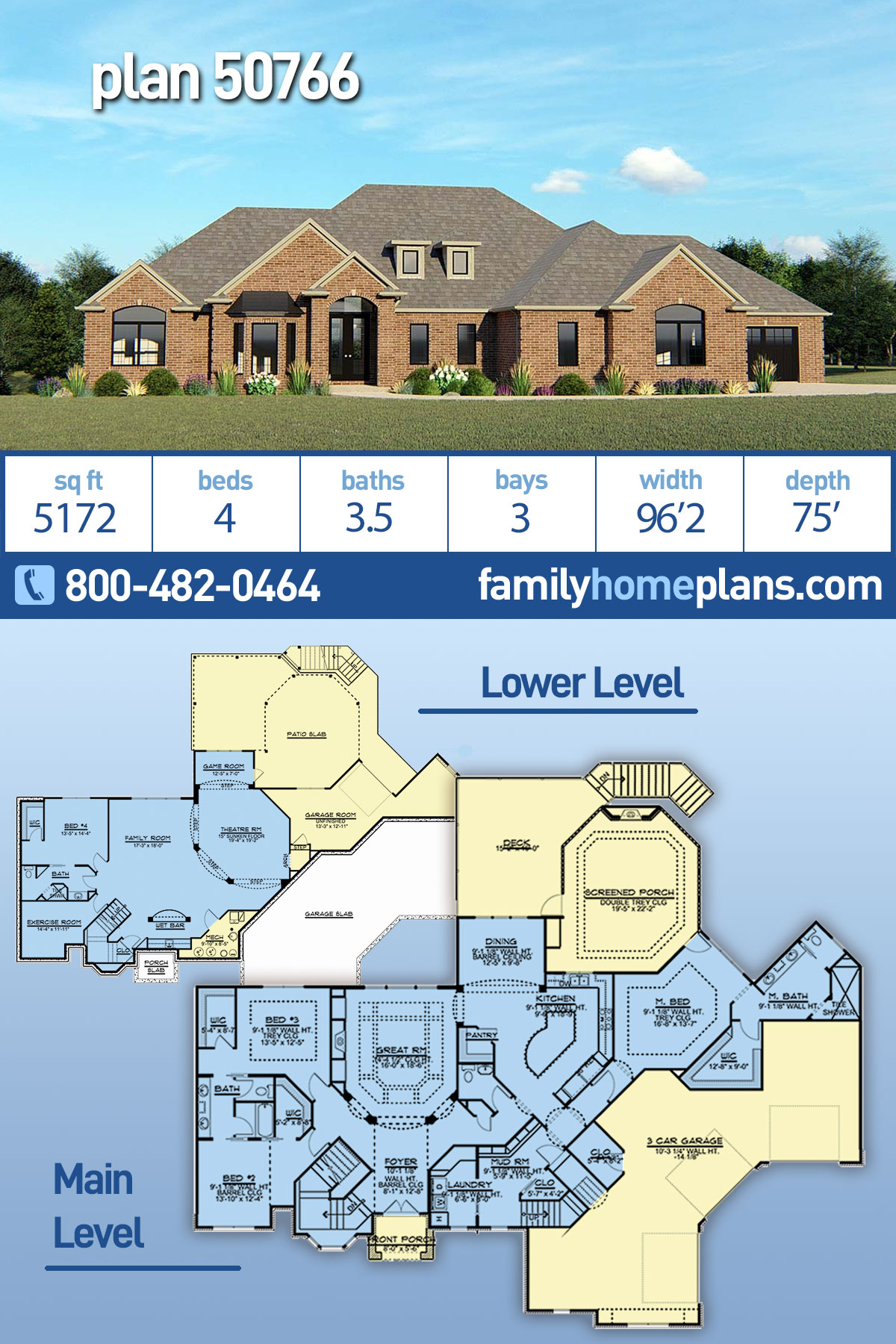 Country, European House Plan 50766 with 4 Beds, 4 Baths, 3 Car Garage