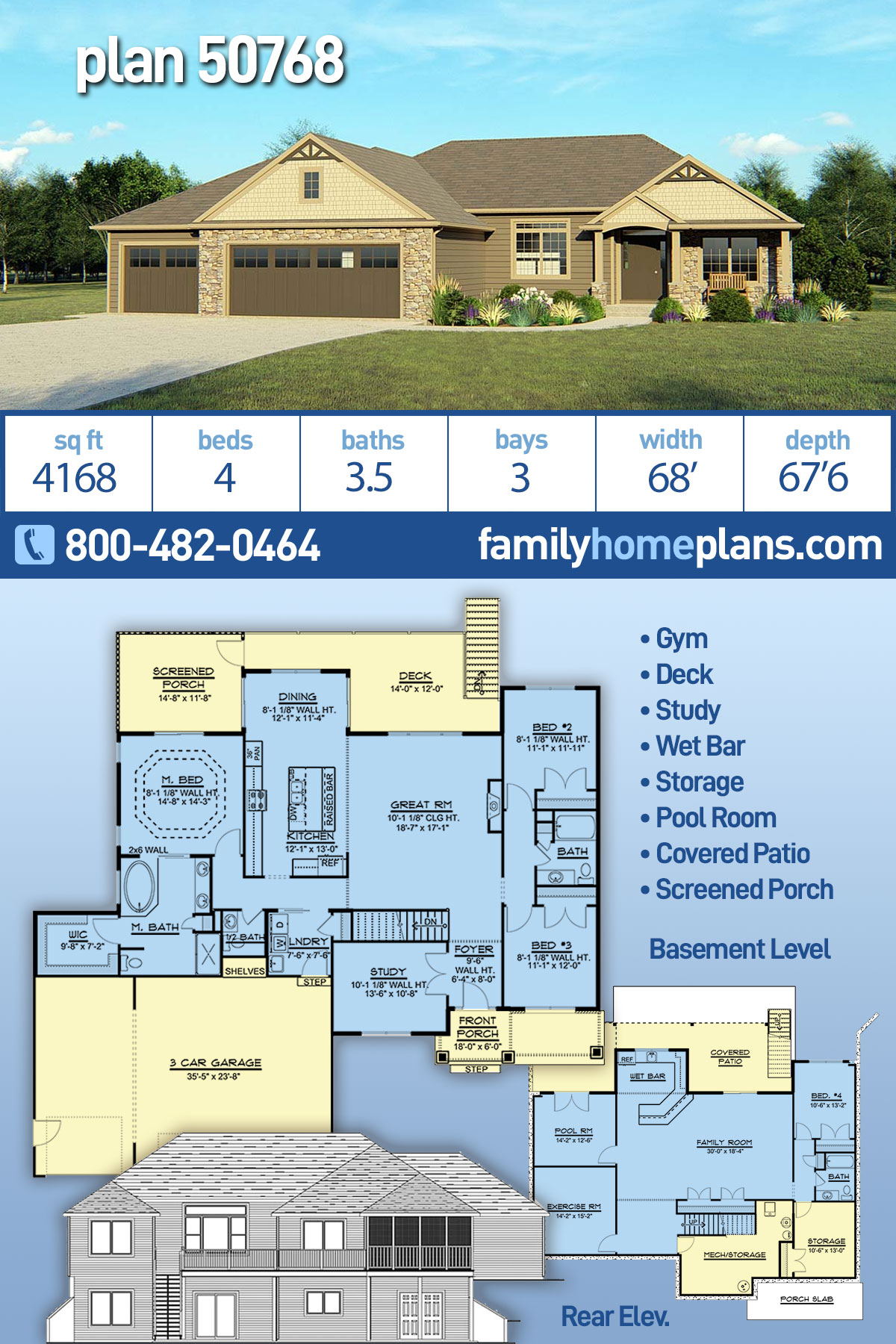Craftsman, Ranch, Traditional House Plan 50768 with 3 Beds, 3 Baths, 3 Car Garage