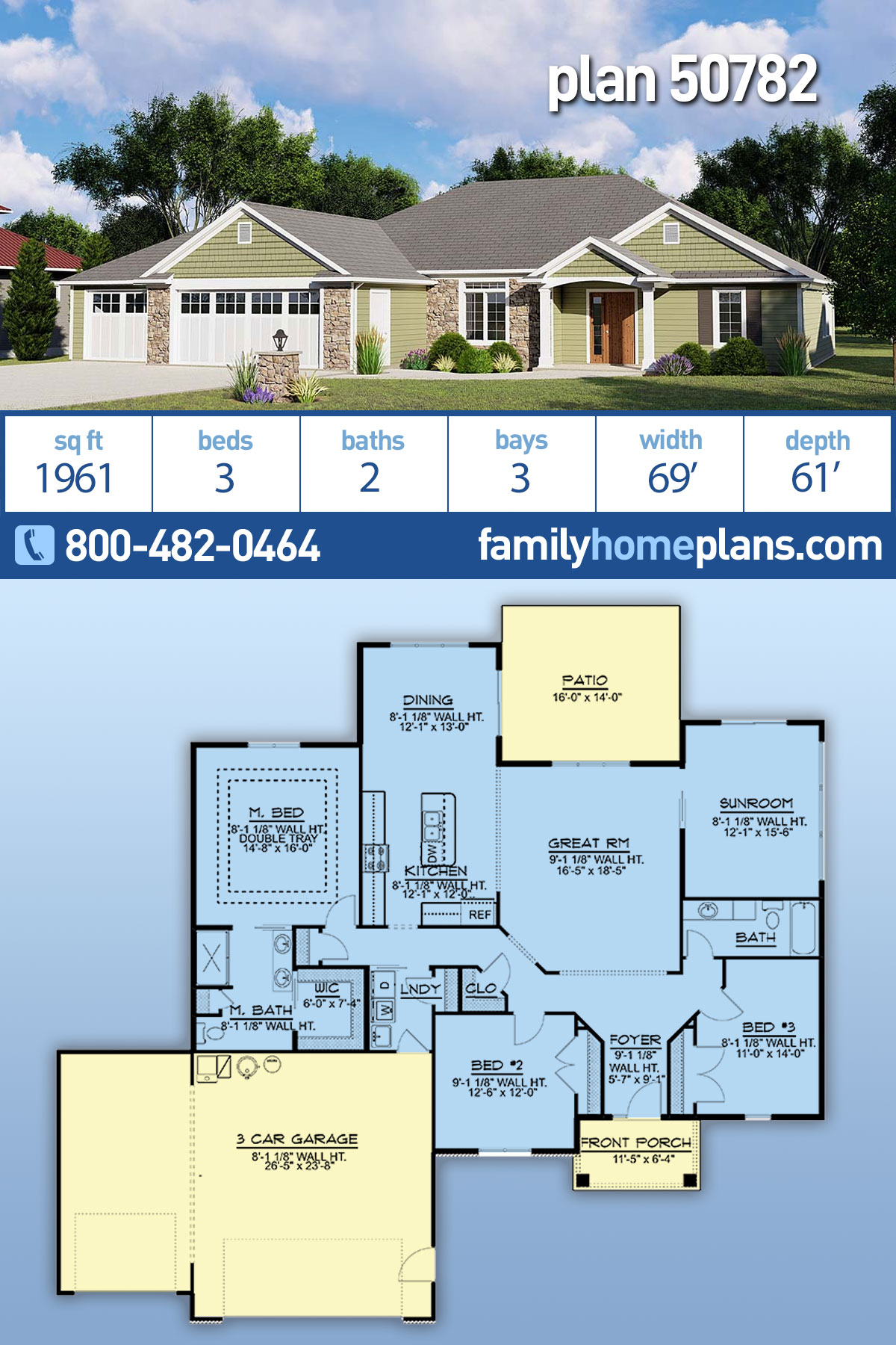 Ranch House Plan 50782 with 3 Beds, 2 Baths, 3 Car Garage