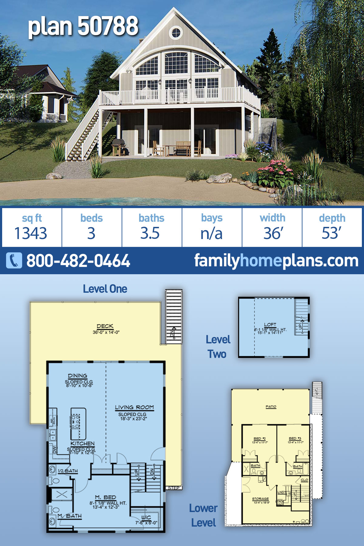 Cabin, Coastal House Plan 50788 with 3 Beds, 4 Baths