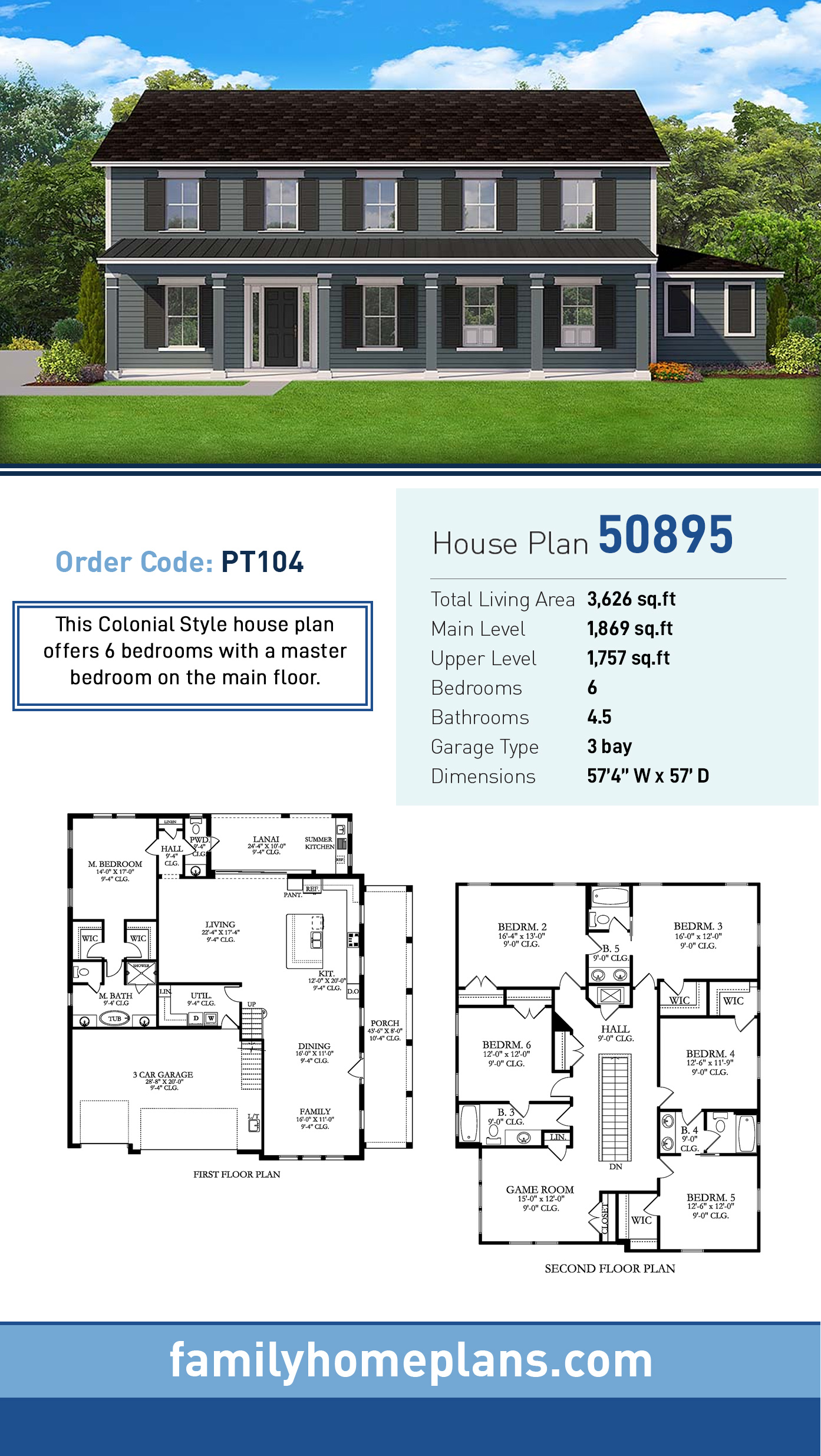 Colonial , Country , Southern , Traditional House Plan 50895 with 6 Beds, 5 Baths, 3 Car Garage