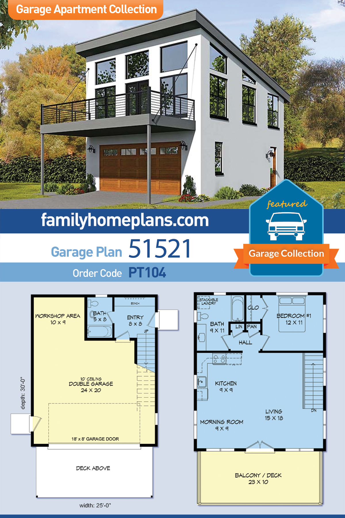 Contemporary, Modern 2 Car Garage ApartmentPlan 51521with 1 Beds, 2 Baths