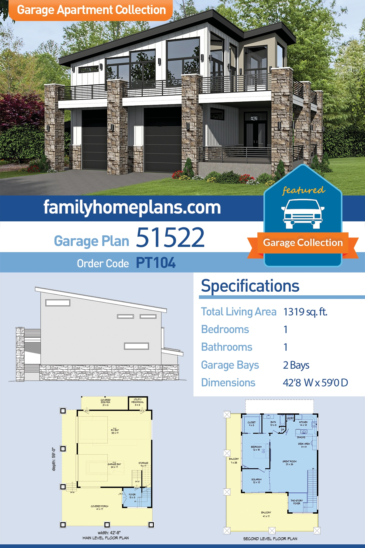 Contemporary, Modern 2 Car Garage Apartment Plan 51522 with 1 Beds, 1 Baths