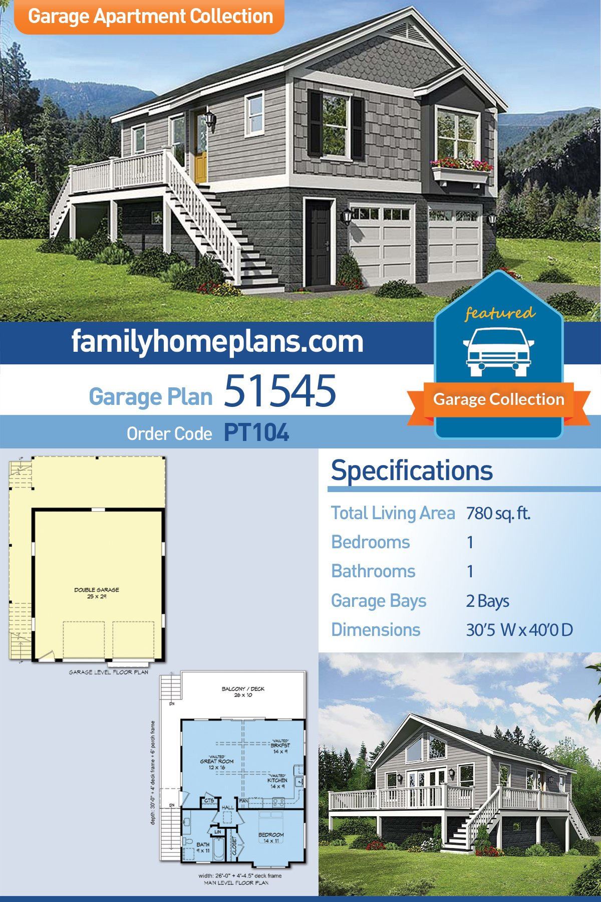 2 Car Garage Apartment Plan 51545 with 1 Beds, 1 Baths