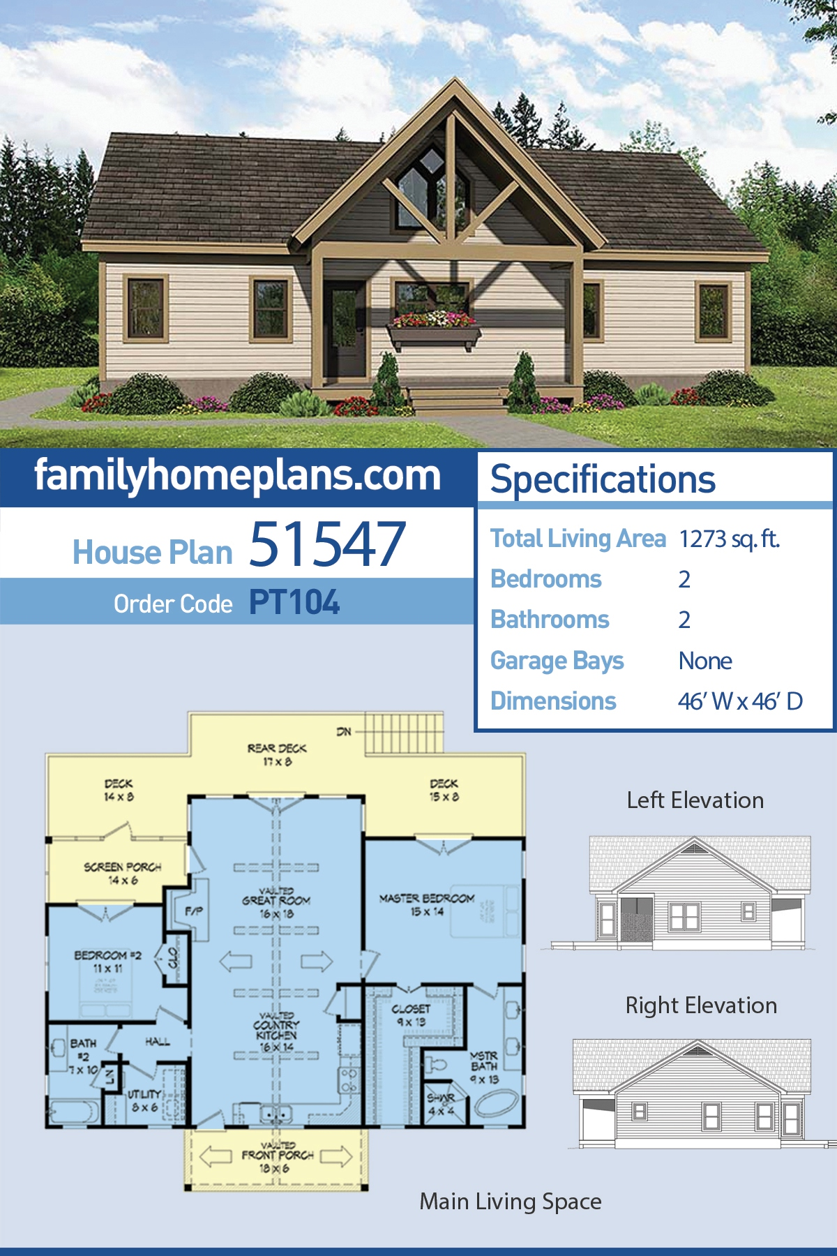 Cabin , Contemporary , Southern , Traditional House Plan 51547 with 2 Beds, 2 Baths
