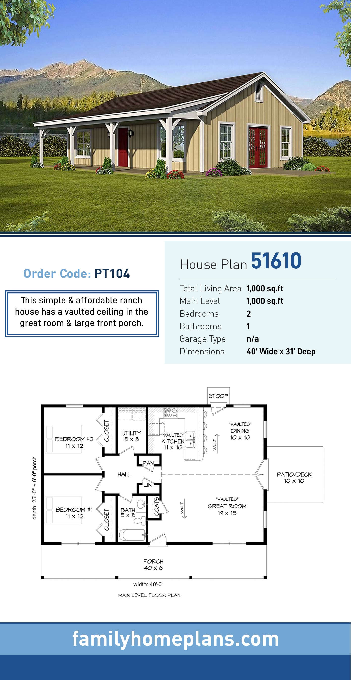 Country, Ranch House Plan 51610 with 2 Beds, 1 Baths