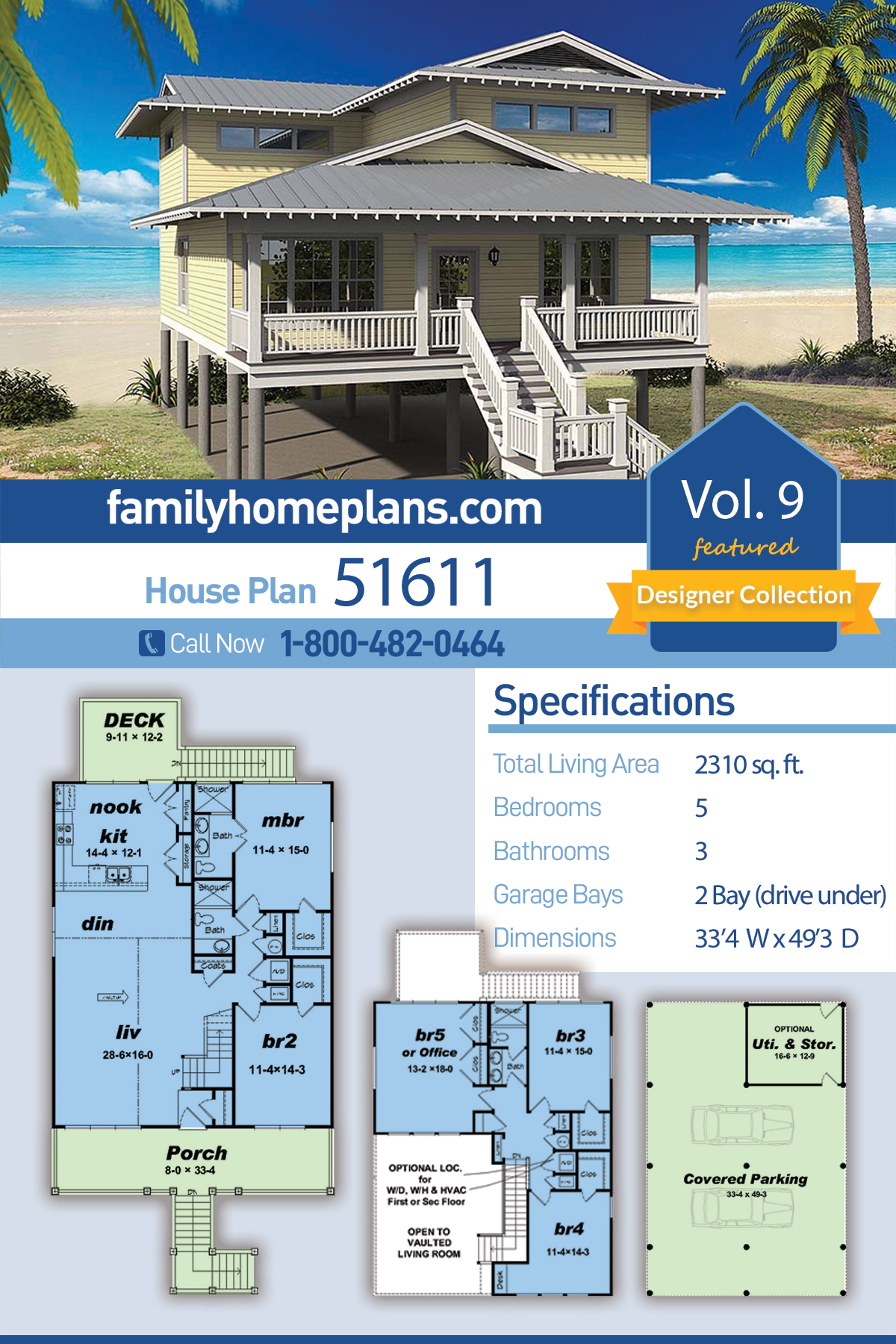 Coastal, Contemporary, Cottage House Plan 51611 with 5 Beds, 3 Baths, 2 Car Garage