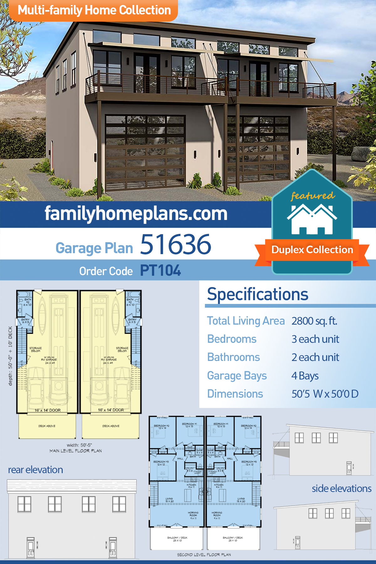 Coastal, Contemporary, Modern Multi-Family Plan 51636 with 6 Beds , 4 Baths , 4 Car Garage