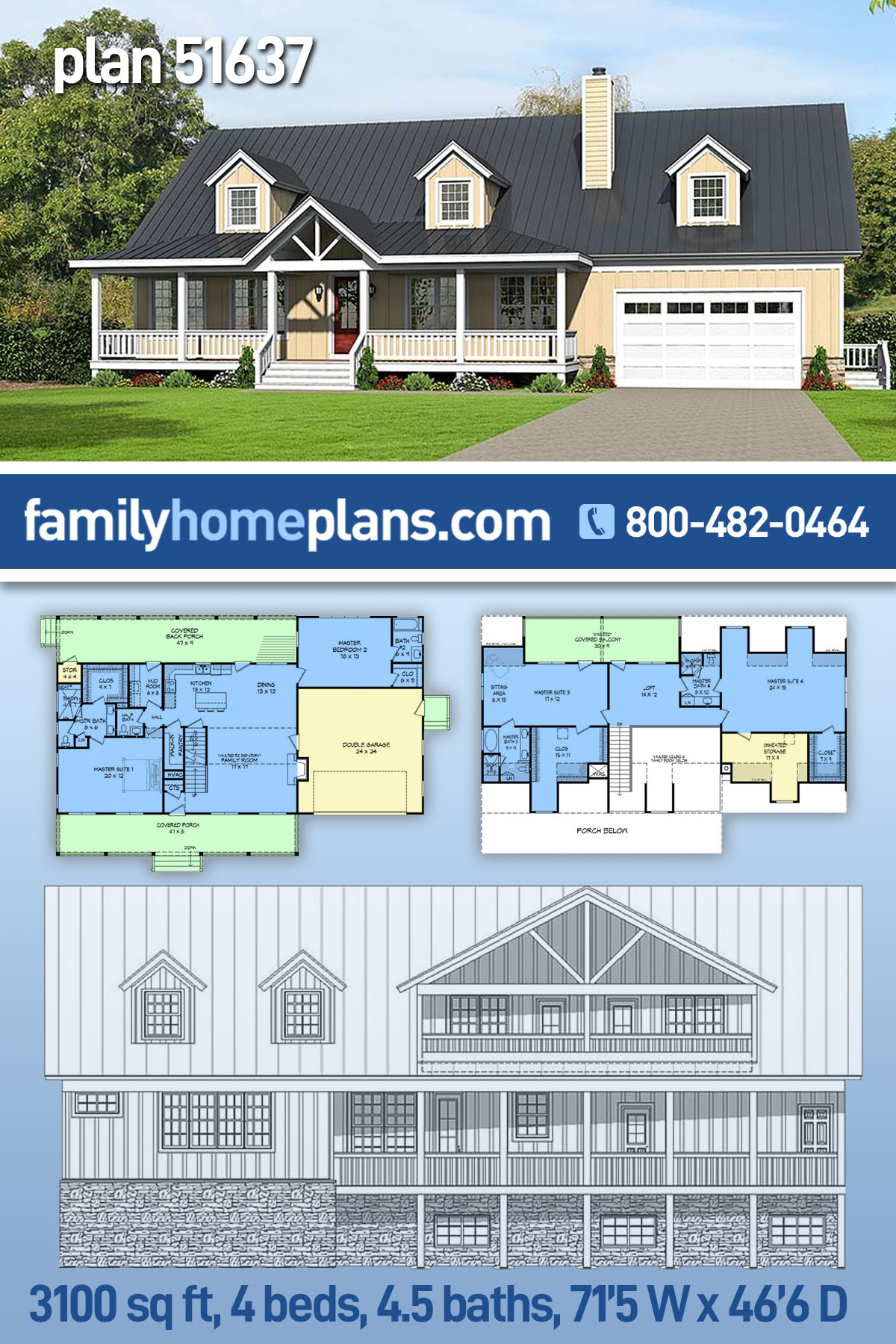 Country , Southern House Plan 51637 with 4 Beds, 5 Baths, 2 Car Garage