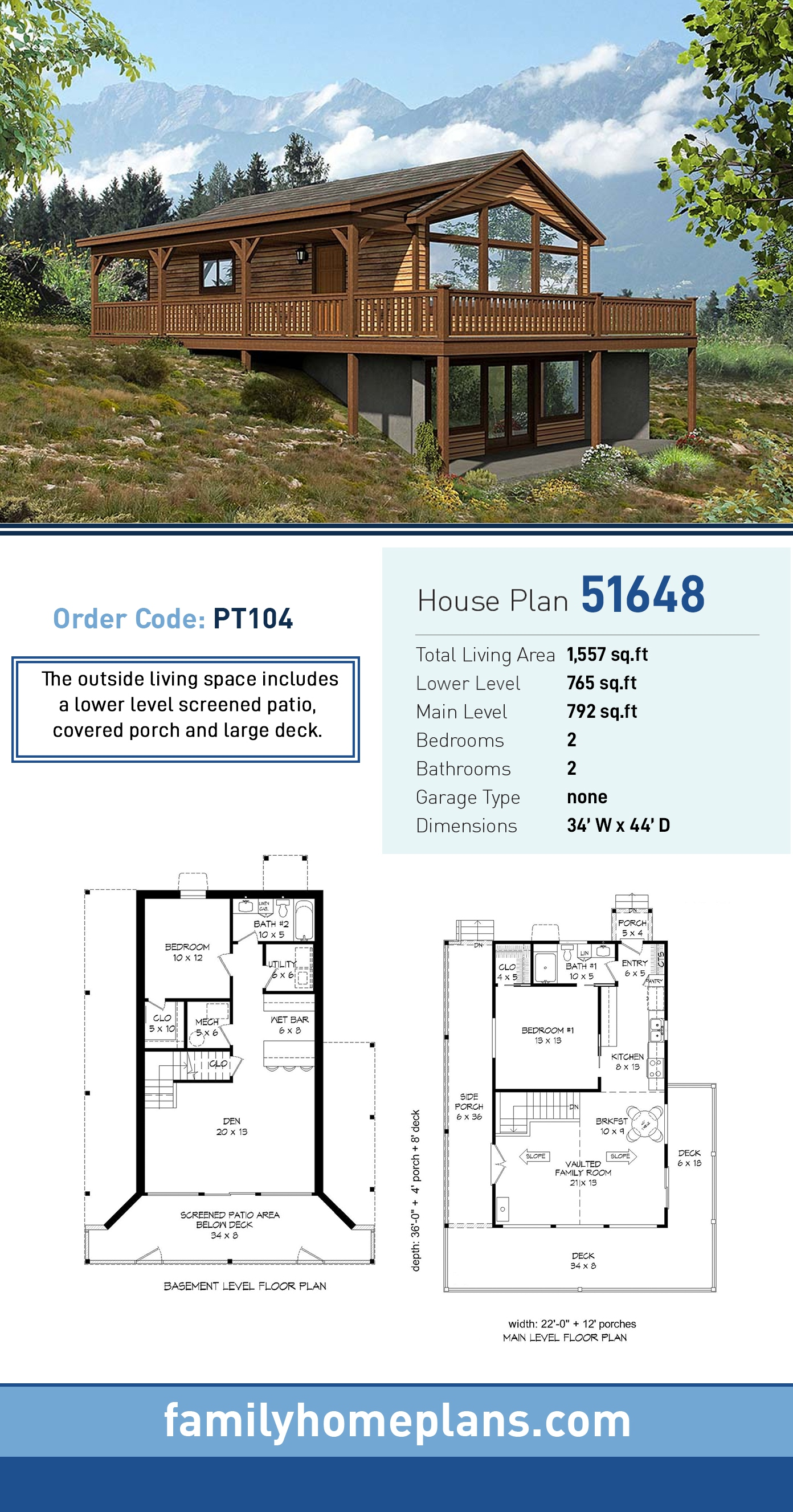 Cabin, Contemporary, Country, Traditional House Plan 51648 with 2 Beds, 2 Baths