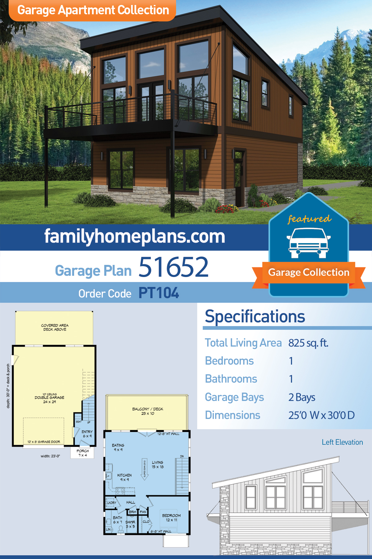 Contemporary, Modern 2 Car Garage Apartment Plan 51652 with 1 Beds, 1 Baths