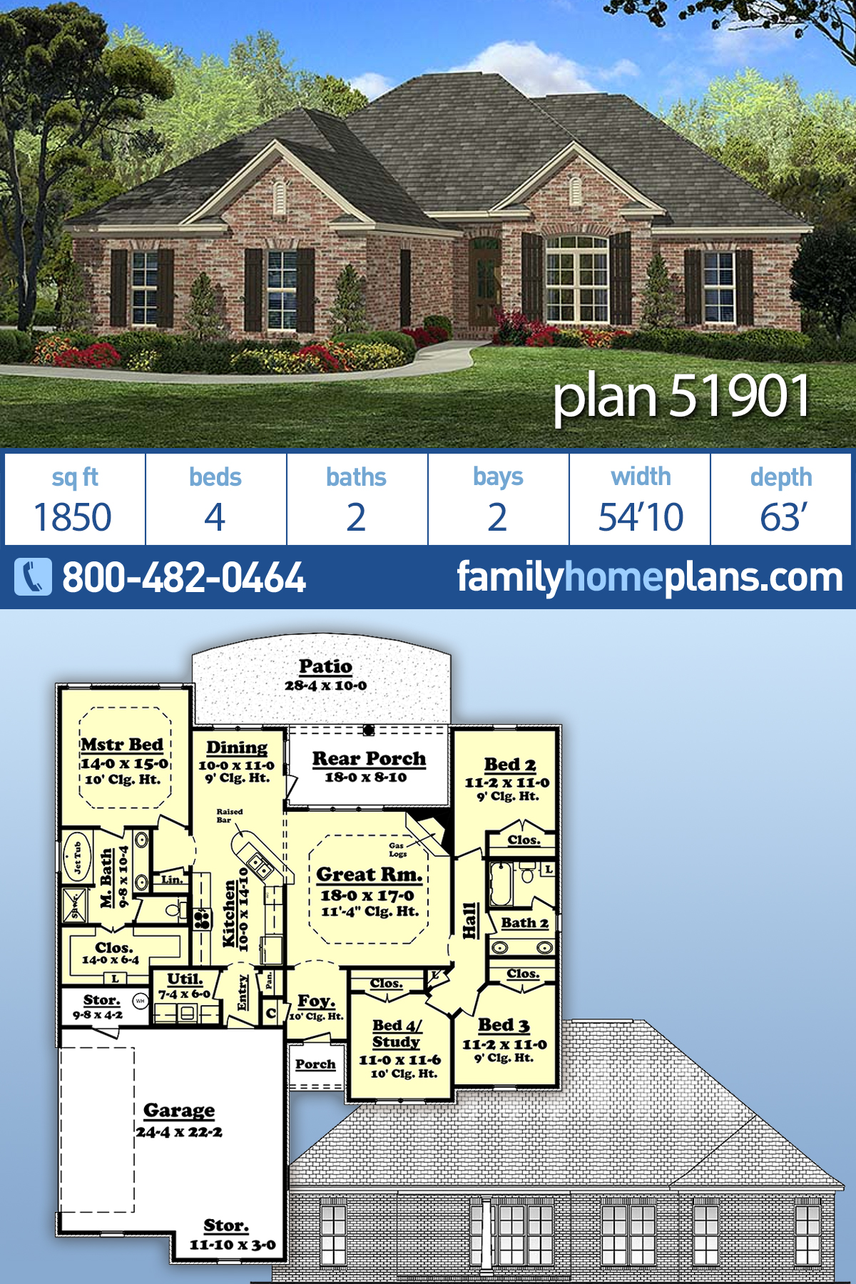 Country, European, French Country House Plan 51901 with 4 Beds, 2 Baths, 2 Car Garage
