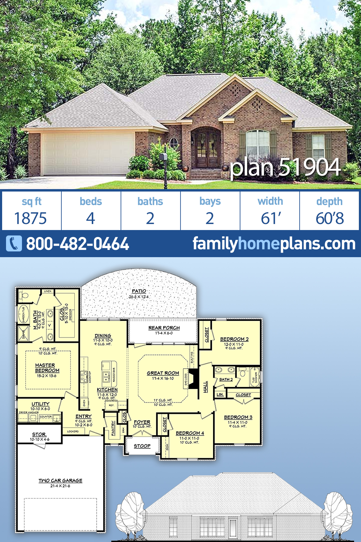 Country, European, Traditional House Plan 51904 with 4 Beds, 2 Baths, 2 Car Garage