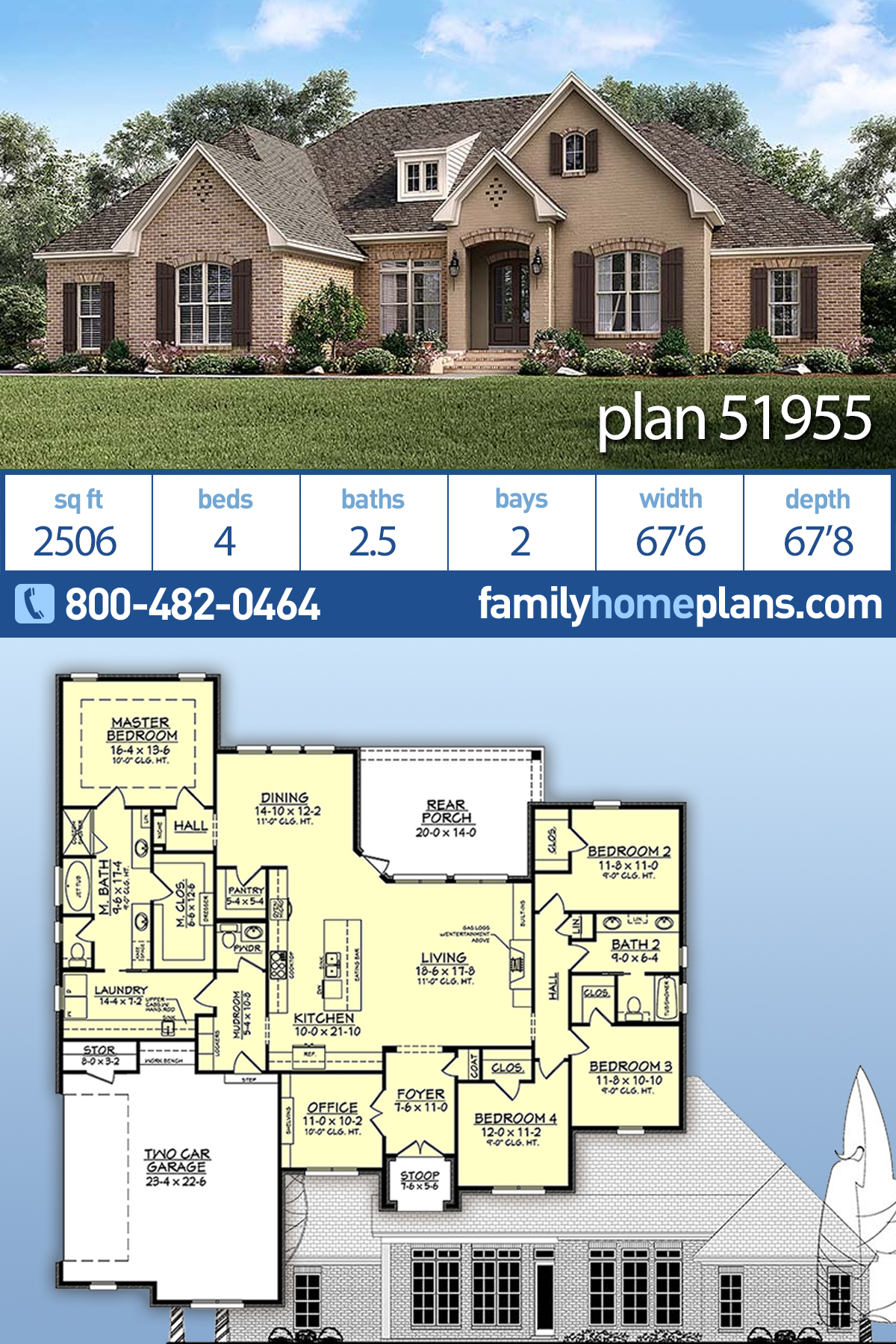 European, French Country House Plan 51955 with 4 Beds, 3 Baths