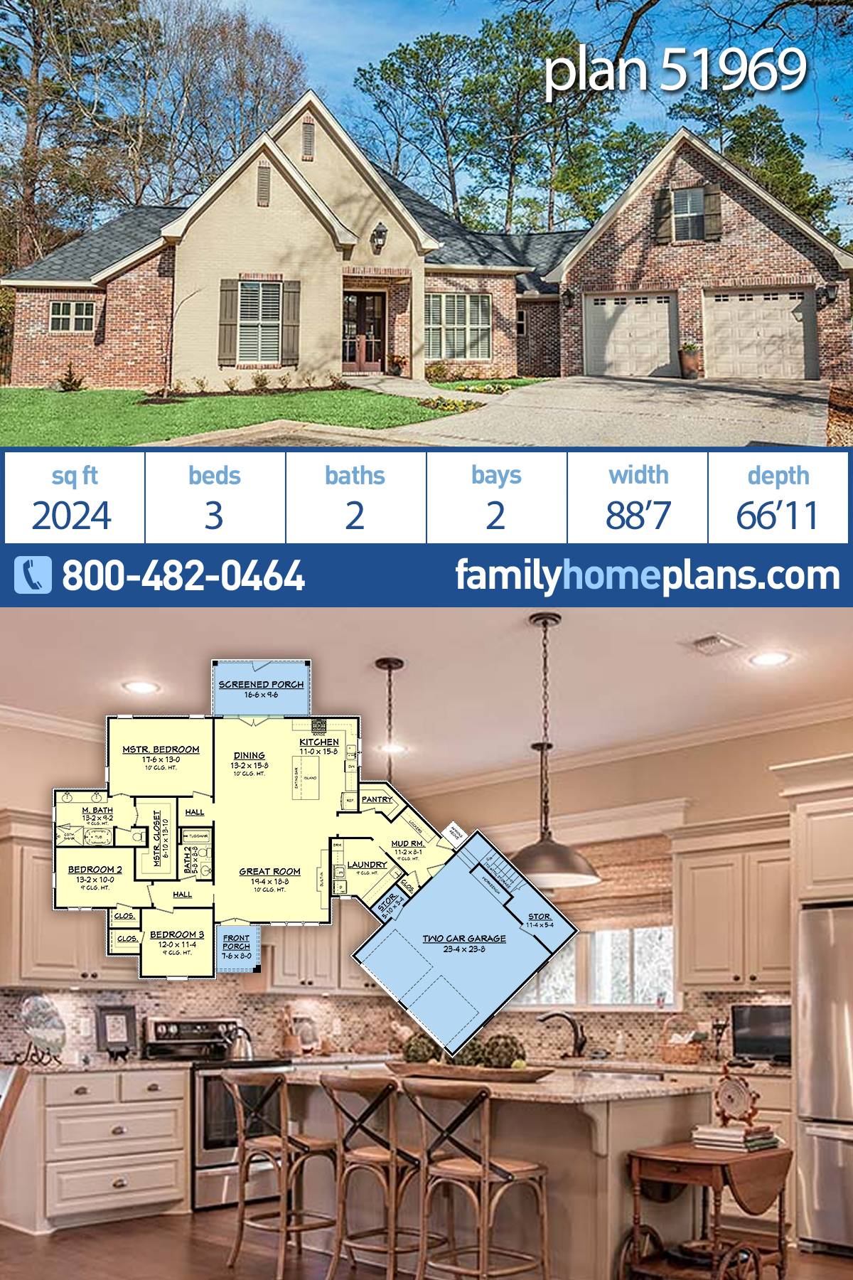 Country, French Country, Traditional House Plan 51969 with 3 Beds, 2 Baths, 2 Car Garage